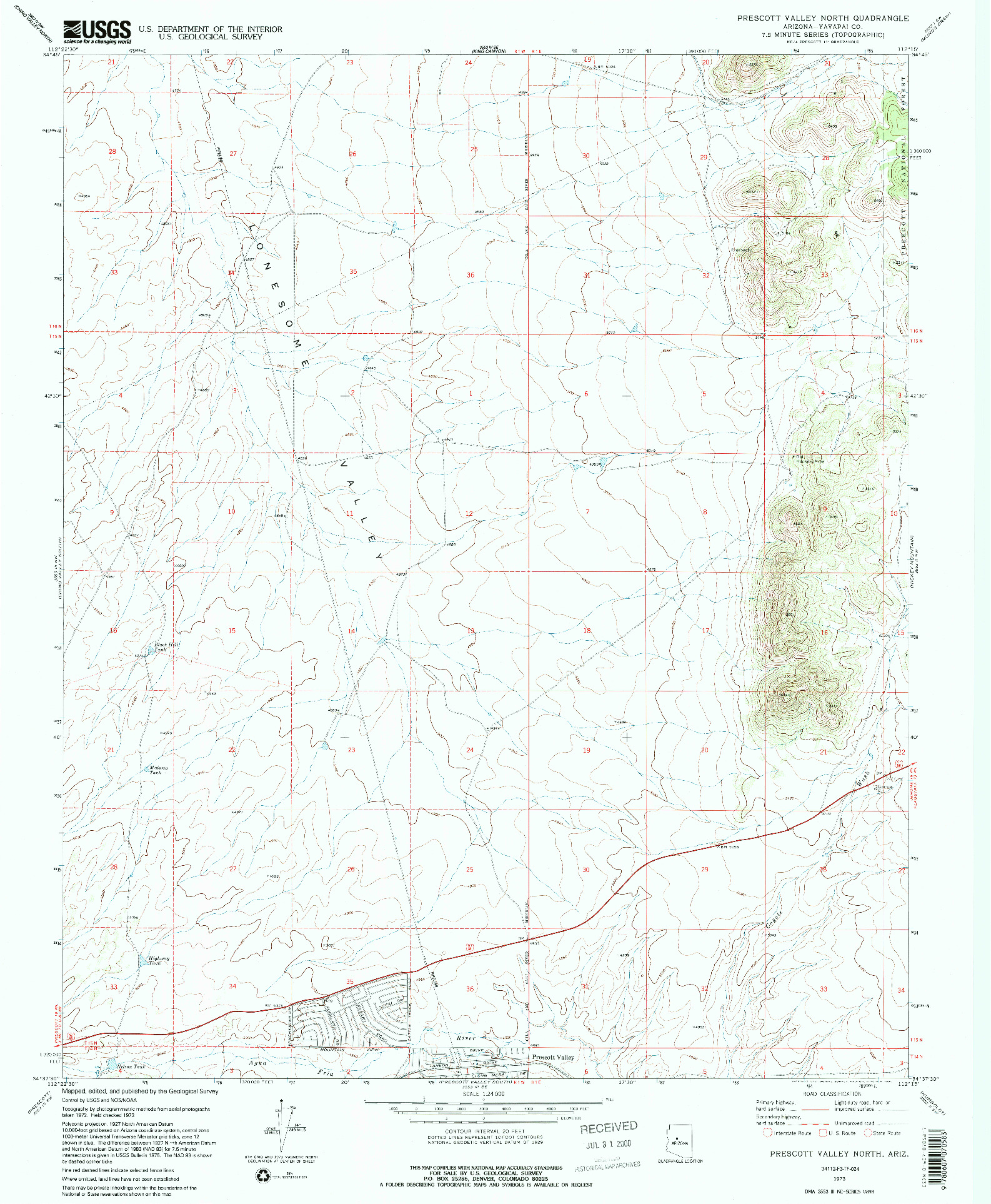 USGS 1:24000-SCALE QUADRANGLE FOR PRESCOTT VALLEY NORTH, AZ 1973