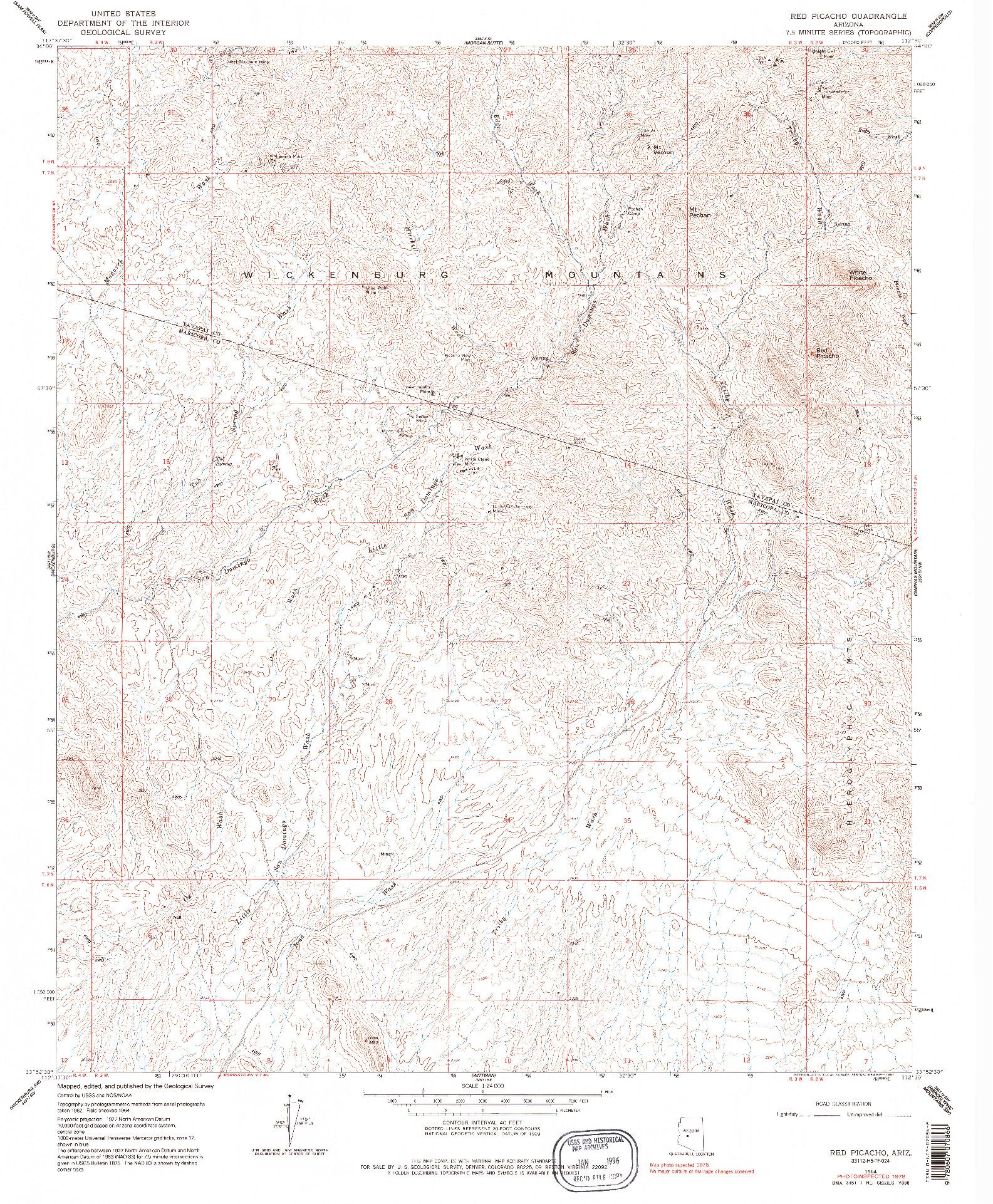USGS 1:24000-SCALE QUADRANGLE FOR RED PICACHO, AZ 1964
