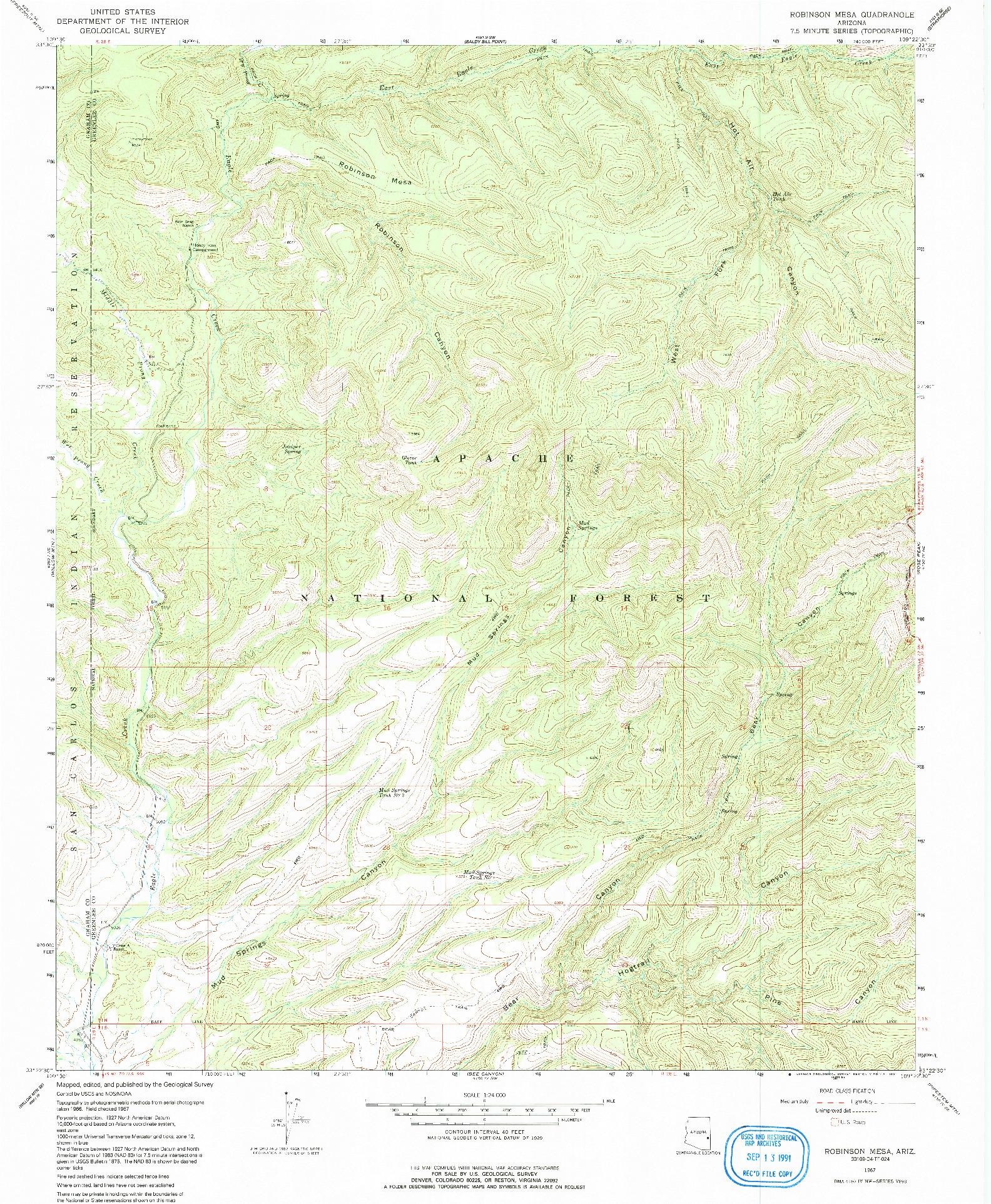USGS 1:24000-SCALE QUADRANGLE FOR ROBINSON MESA, AZ 1967