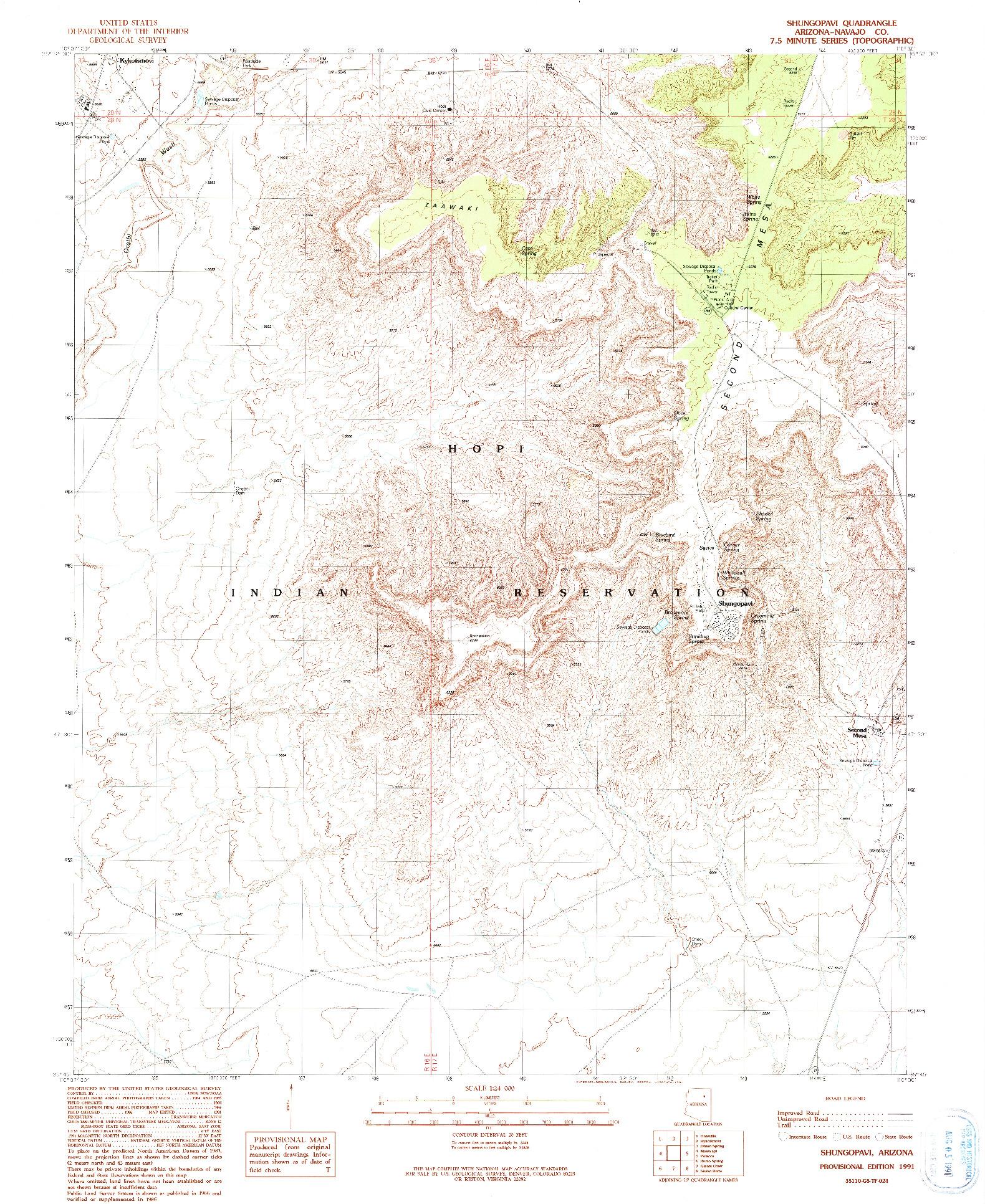 USGS 1:24000-SCALE QUADRANGLE FOR SHUNGOPAVI, AZ 1991
