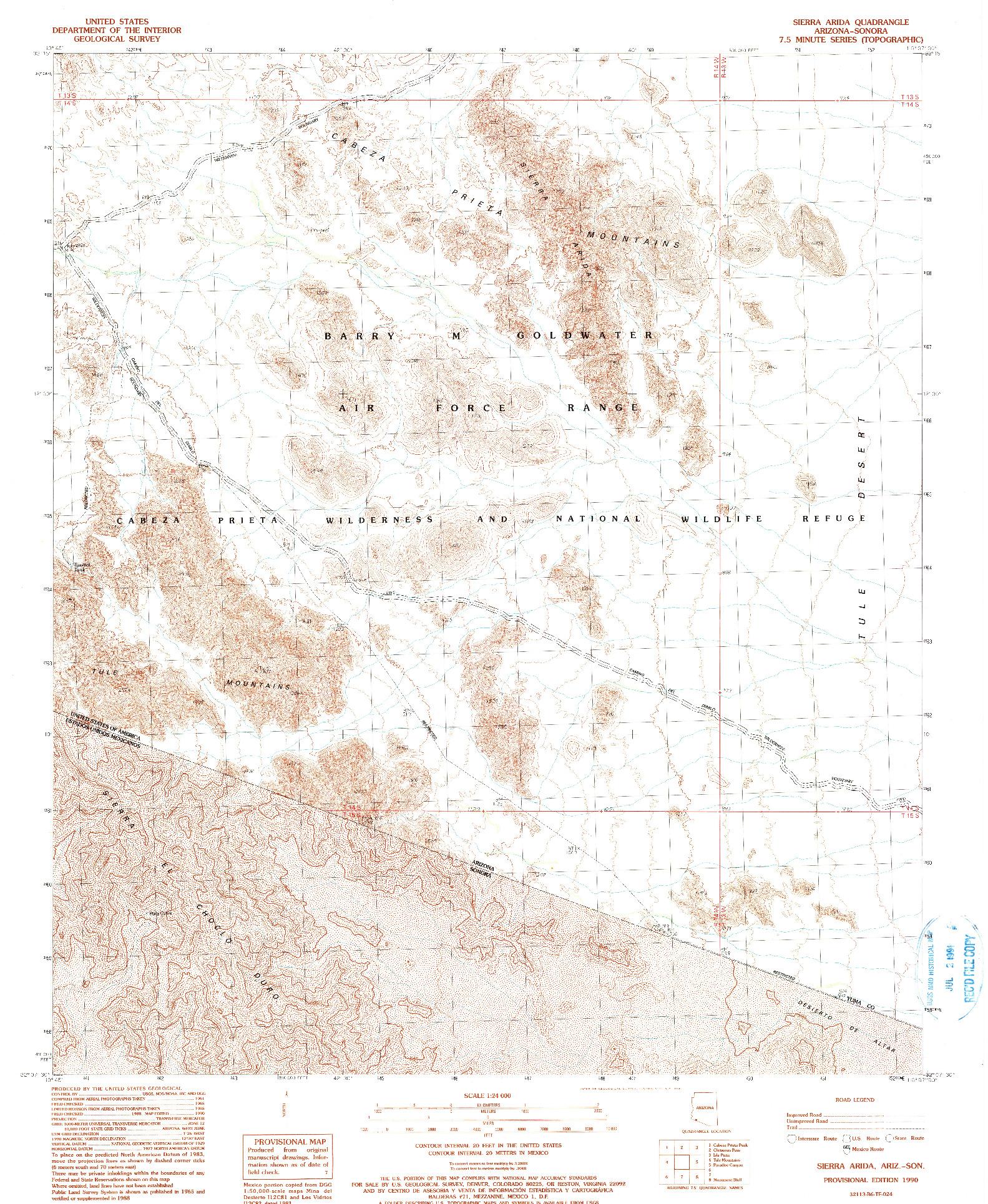 USGS 1:24000-SCALE QUADRANGLE FOR SIERRA ARIDA, AZ 1990