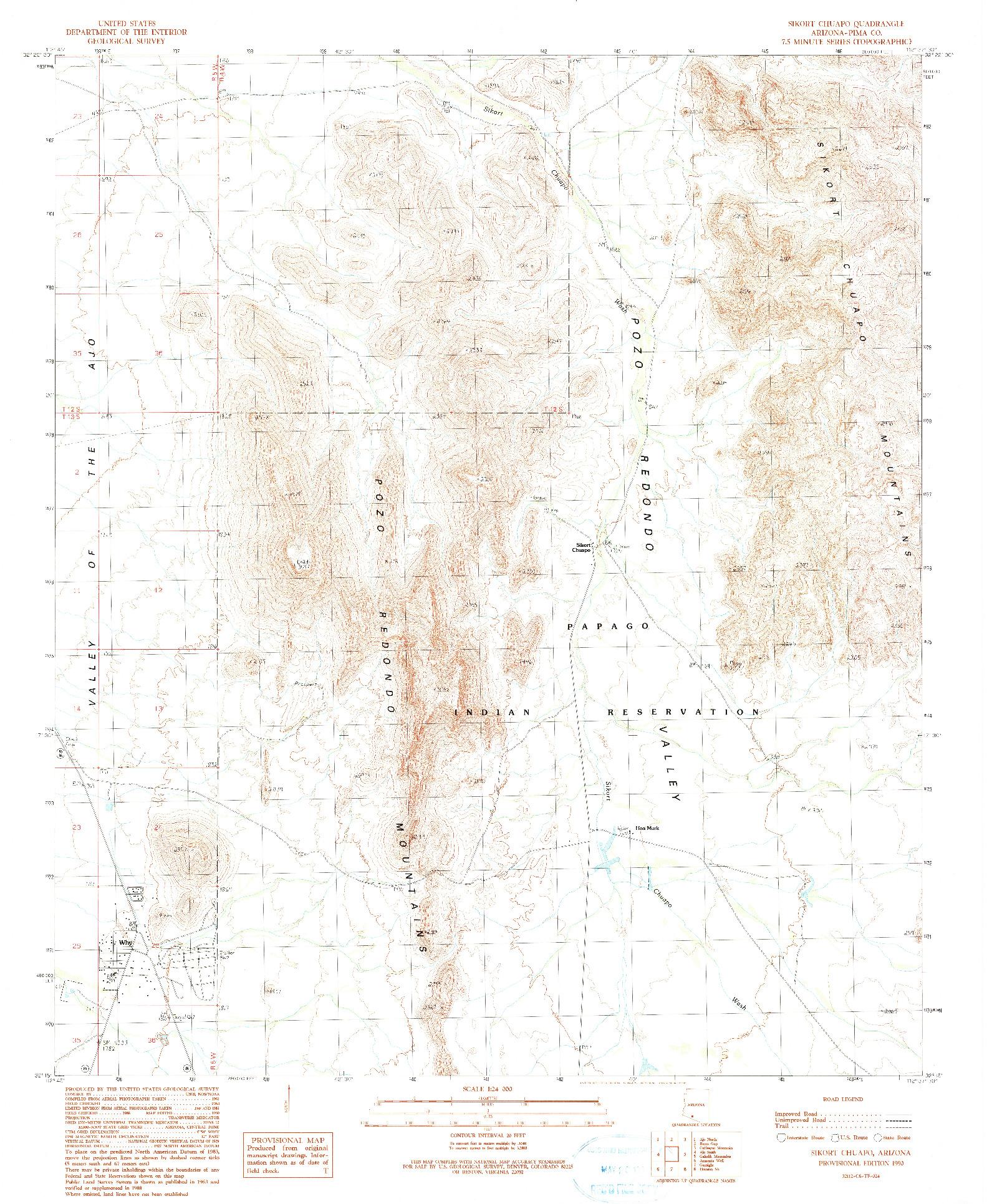 USGS 1:24000-SCALE QUADRANGLE FOR SIKORT CHUAPO, AZ 1990