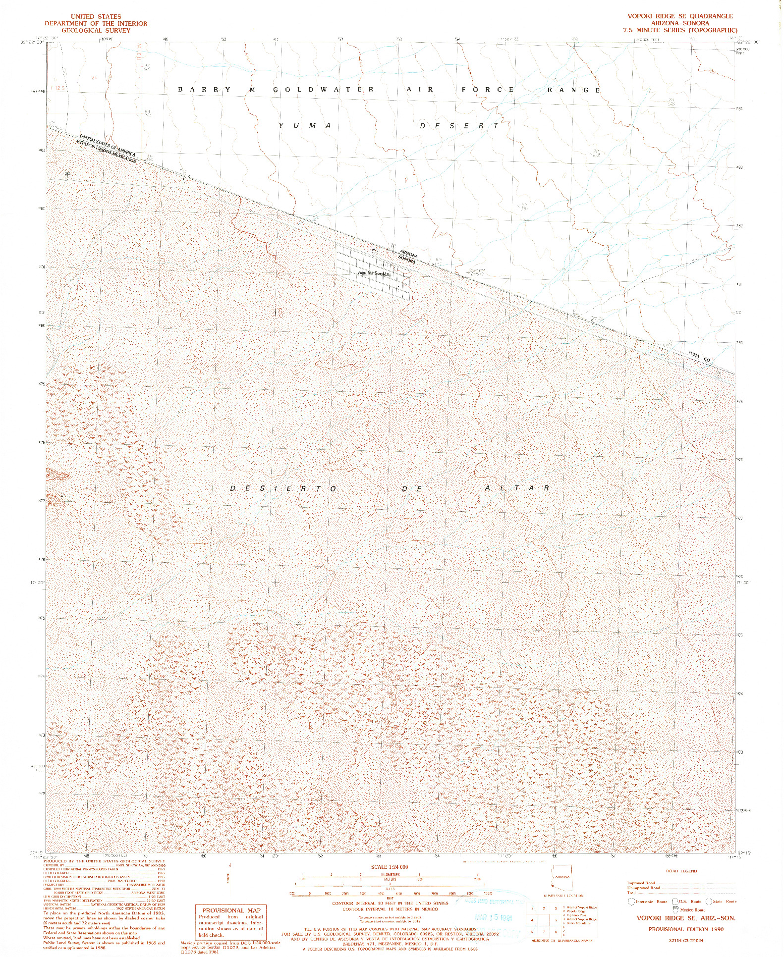 USGS 1:24000-SCALE QUADRANGLE FOR VOPOKI RIDGE SE, AZ 1990