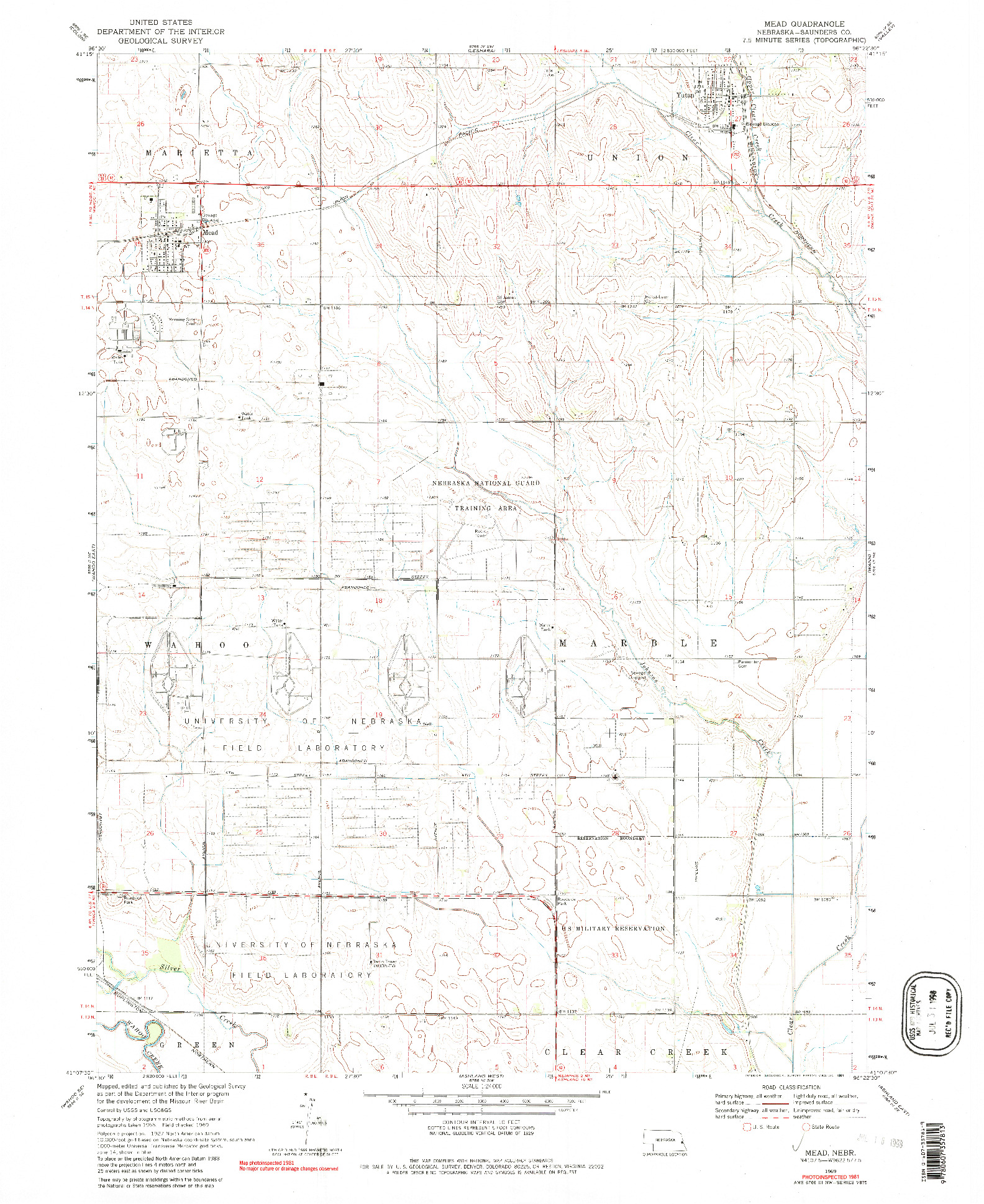 USGS 1:24000-SCALE QUADRANGLE FOR MEAD, NE 1969