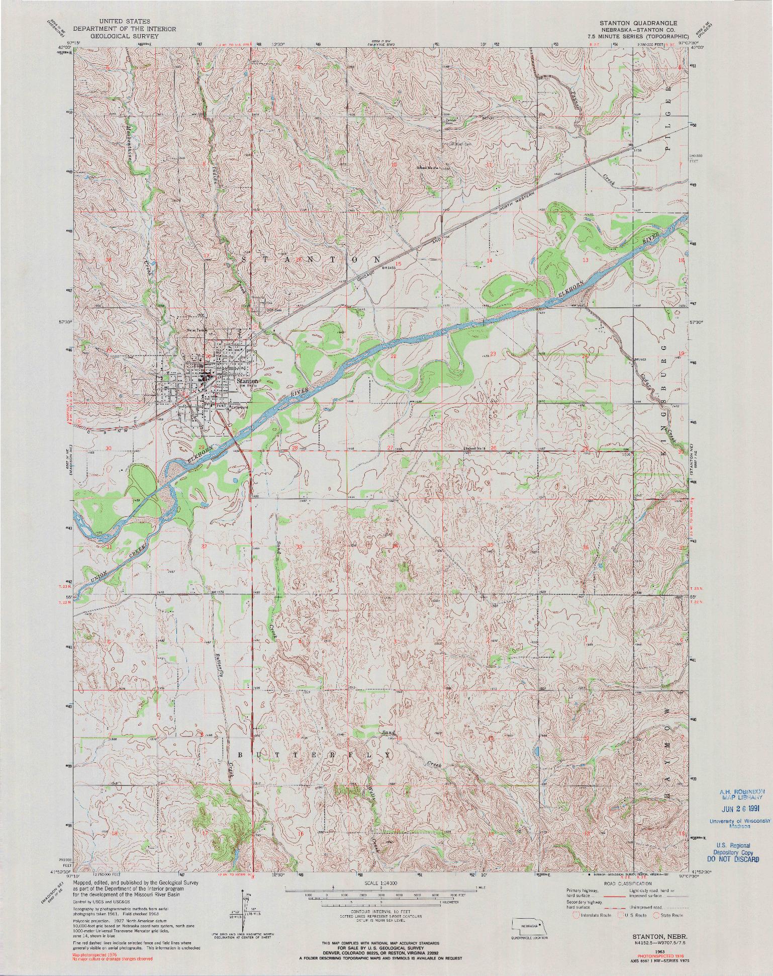 USGS 1:24000-SCALE QUADRANGLE FOR STANTON, NE 1963