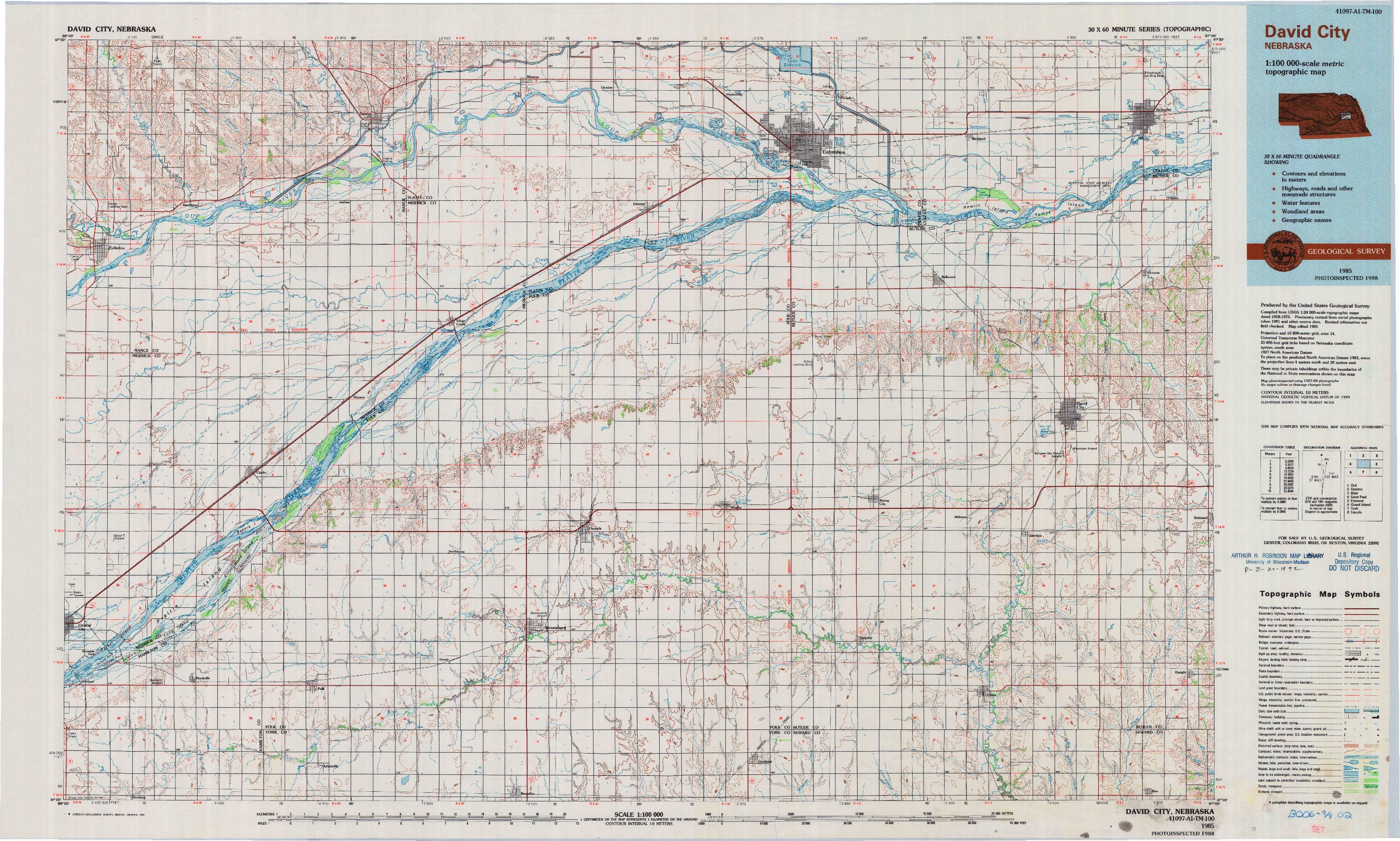 USGS 1:100000-SCALE QUADRANGLE FOR DAVID CITY, NE 1985