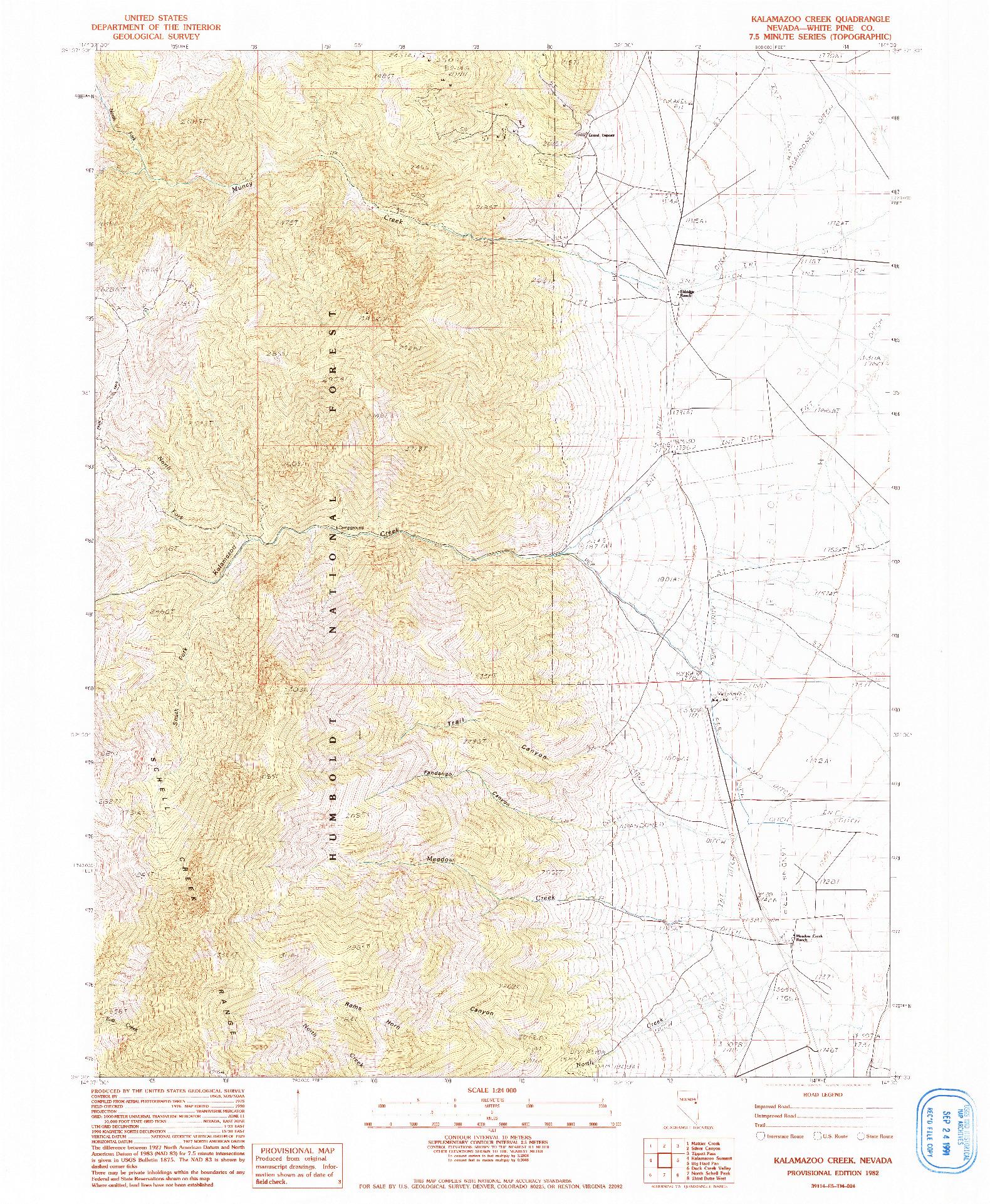 USGS 1:24000-SCALE QUADRANGLE FOR KALAMAZOO CREEK, NV 1982