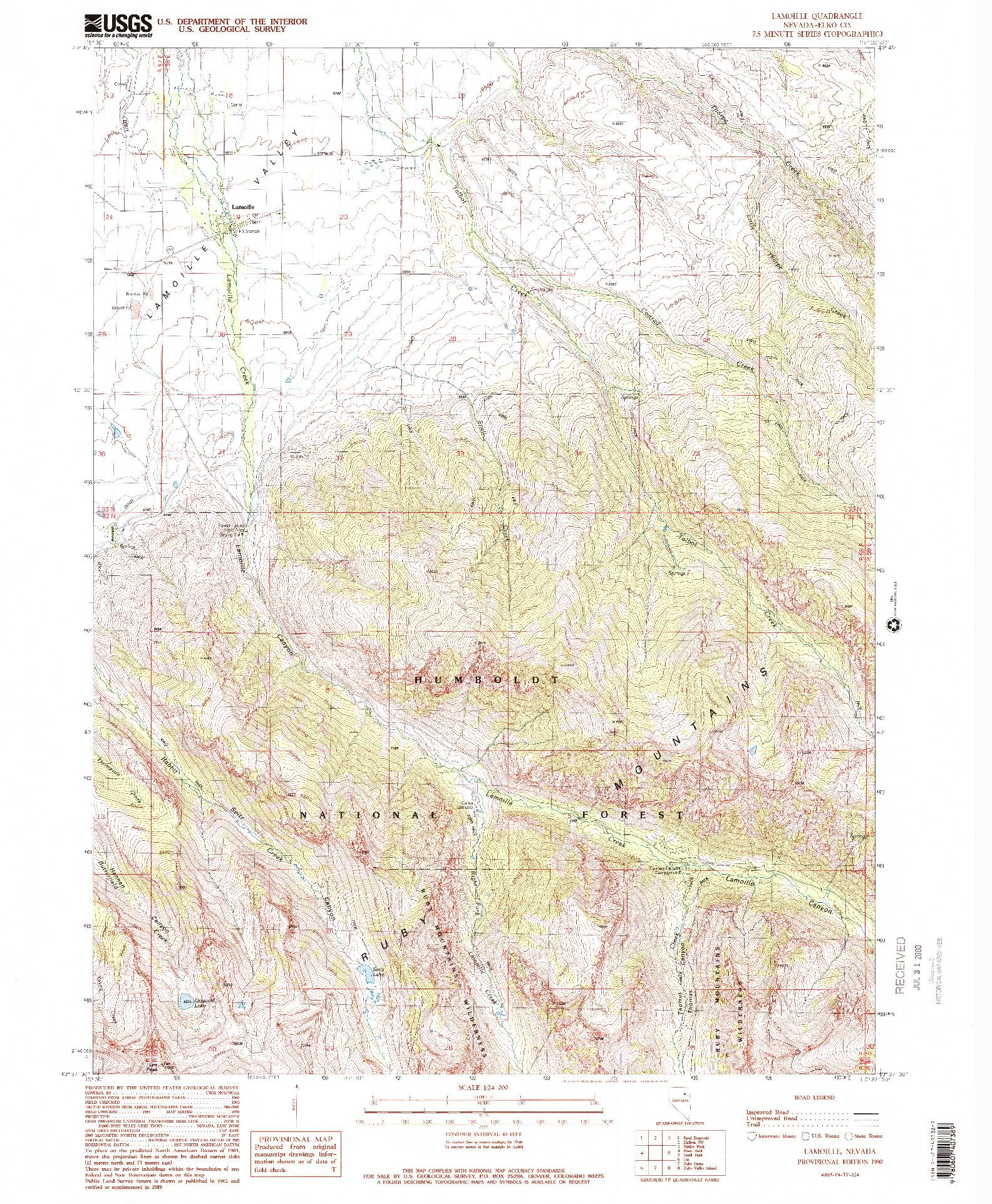 USGS 1:24000-SCALE QUADRANGLE FOR LAMOILLE, NV 1990