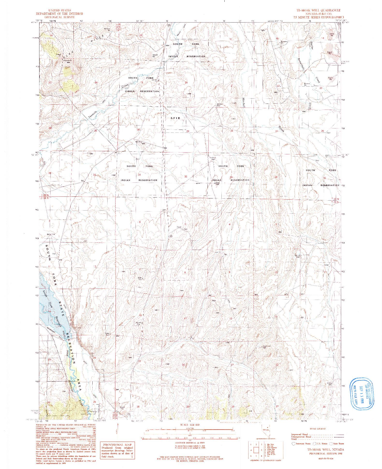 USGS 1:24000-SCALE QUADRANGLE FOR TE-MOAK WELL, NV 1990
