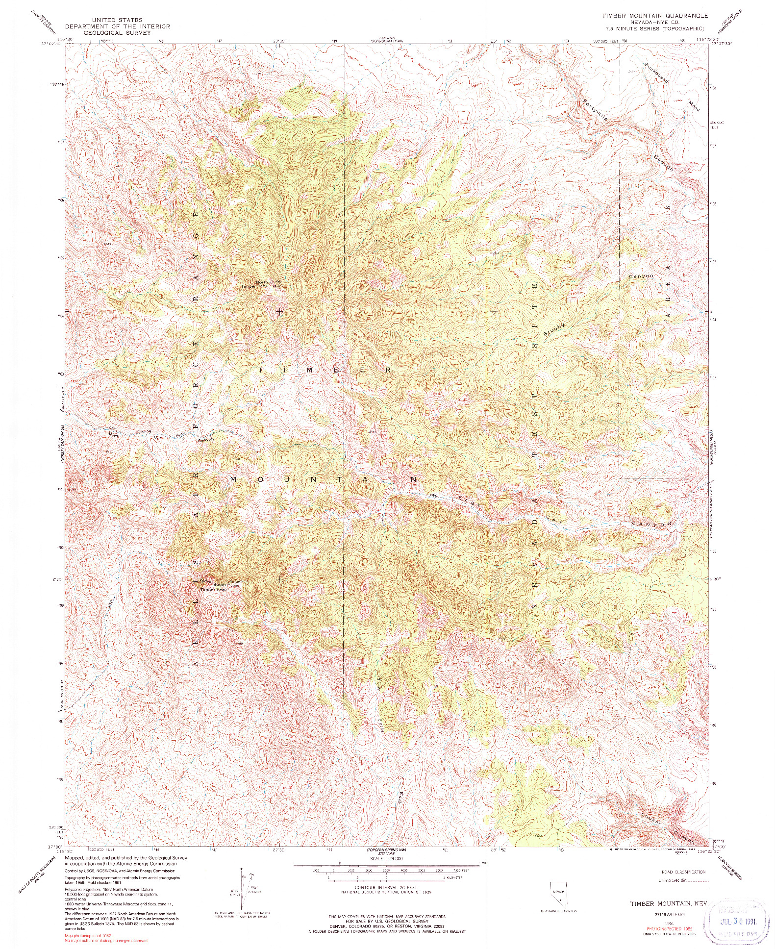 USGS 1:24000-SCALE QUADRANGLE FOR TIMBER MOUNTAIN, NV 1961
