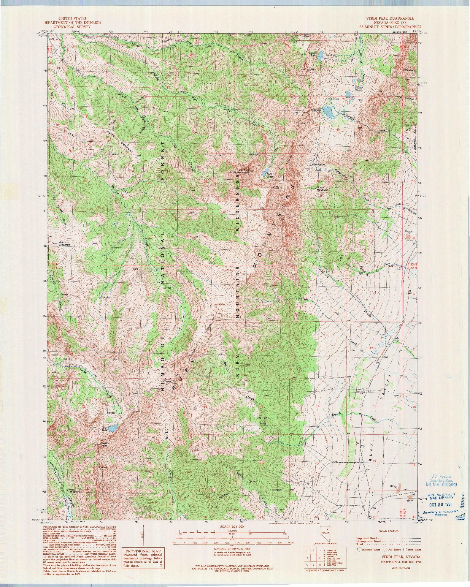 USGS 1:24000-SCALE QUADRANGLE FOR VERDI PEAK, NV 1991