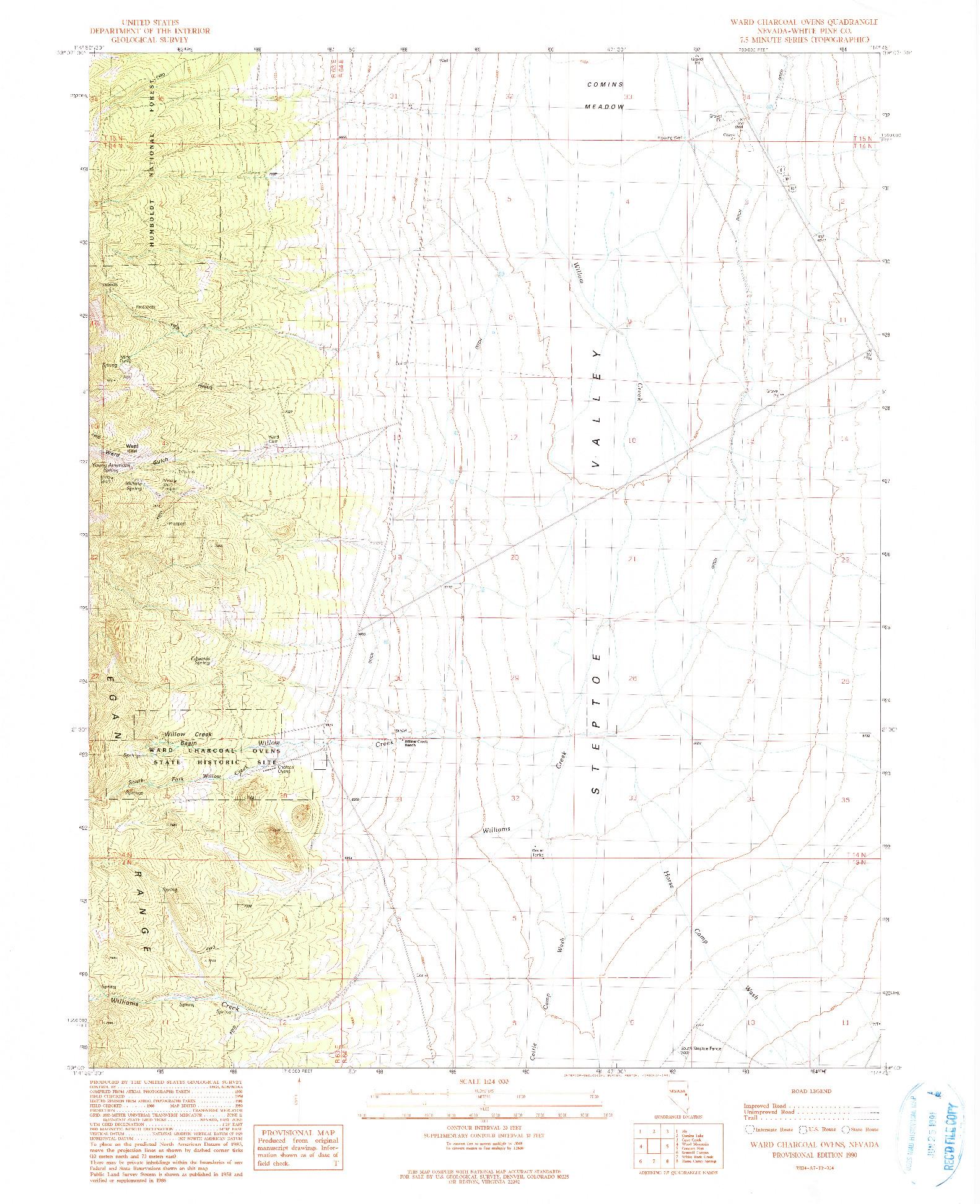 USGS 1:24000-SCALE QUADRANGLE FOR WARD CHARCOAL OVENS, NV 1990