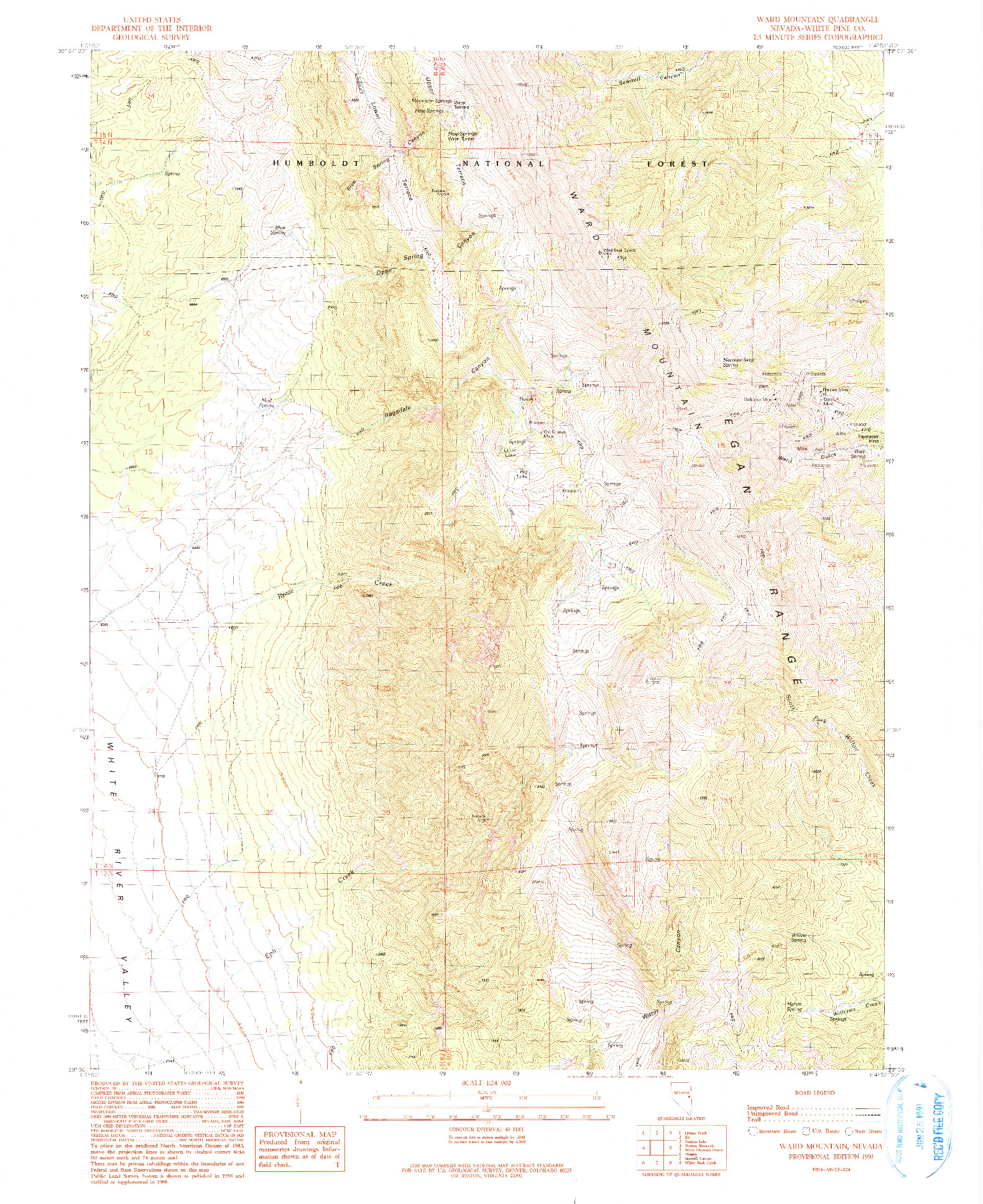 USGS 1:24000-SCALE QUADRANGLE FOR WARD MOUNTAIN, NV 1990