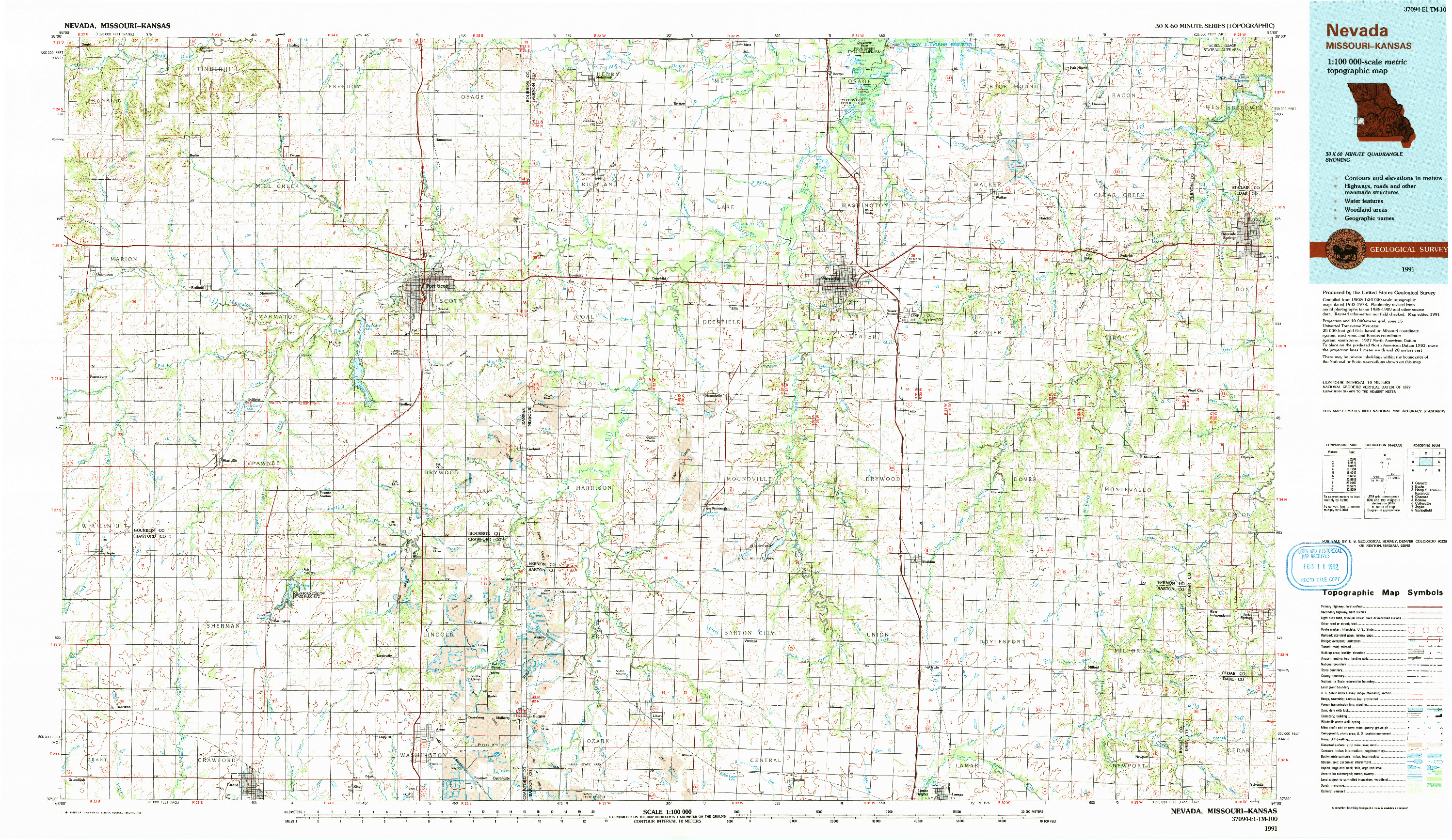 USGS 1:100000-SCALE QUADRANGLE FOR NEVADA, MO 1991
