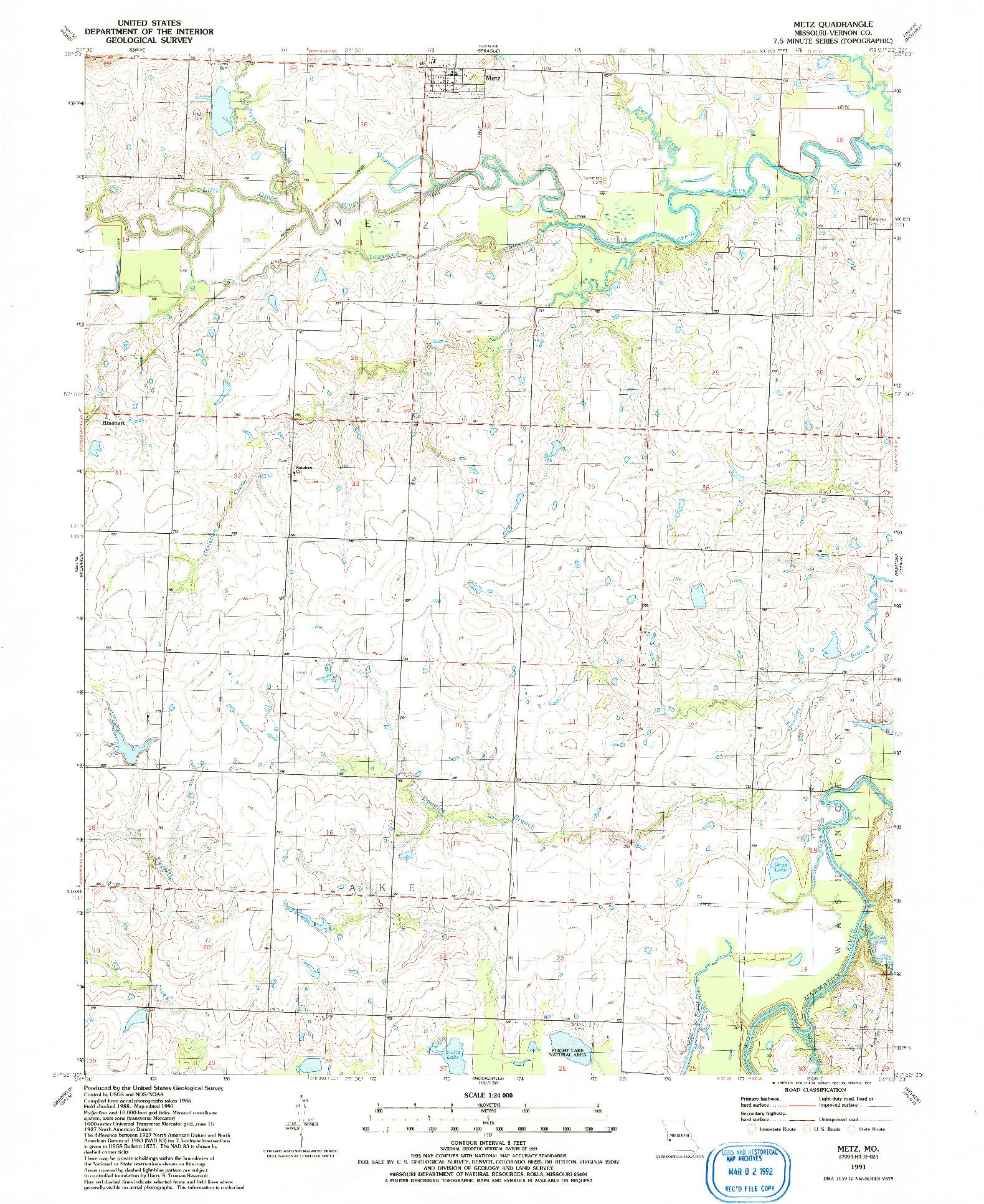 USGS 1:24000-SCALE QUADRANGLE FOR METZ, MO 1991