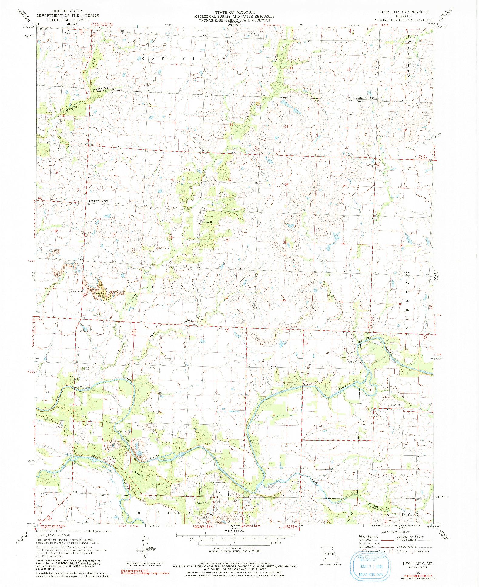 USGS 1:24000-SCALE QUADRANGLE FOR NECK CITY, MO 1962