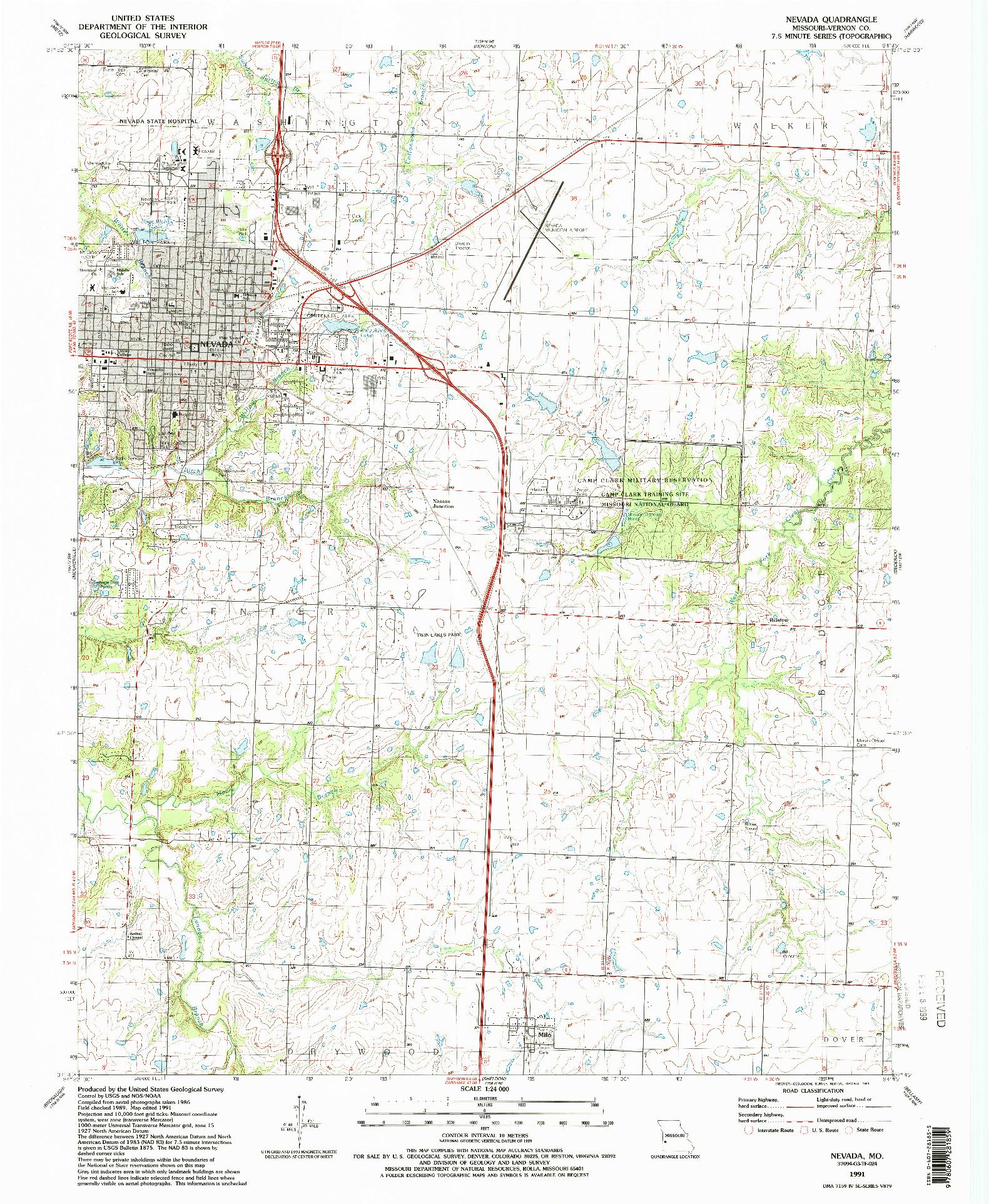 USGS 1:24000-SCALE QUADRANGLE FOR NEVADA, MO 1991