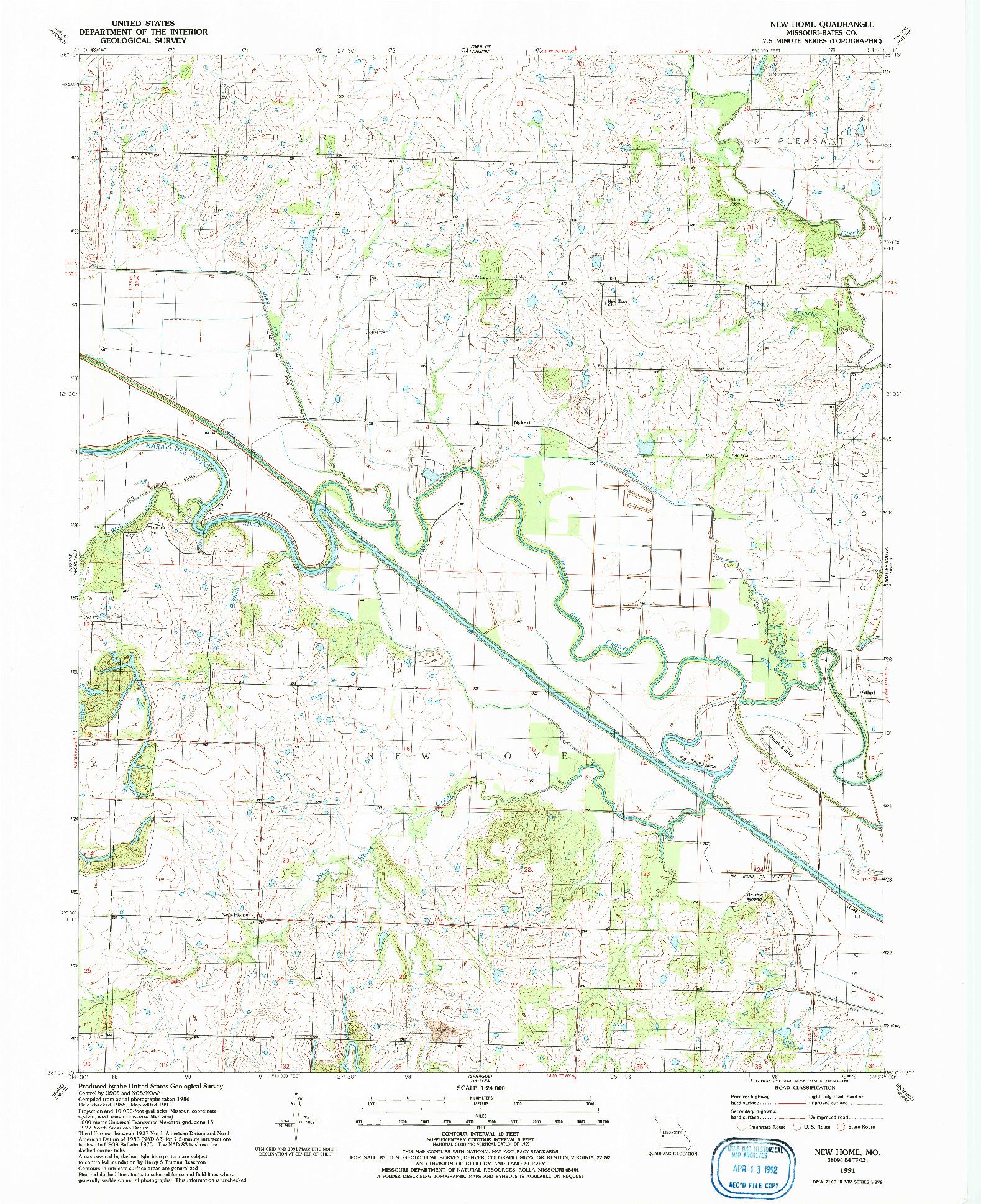 USGS 1:24000-SCALE QUADRANGLE FOR NEW HOME, MO 1991