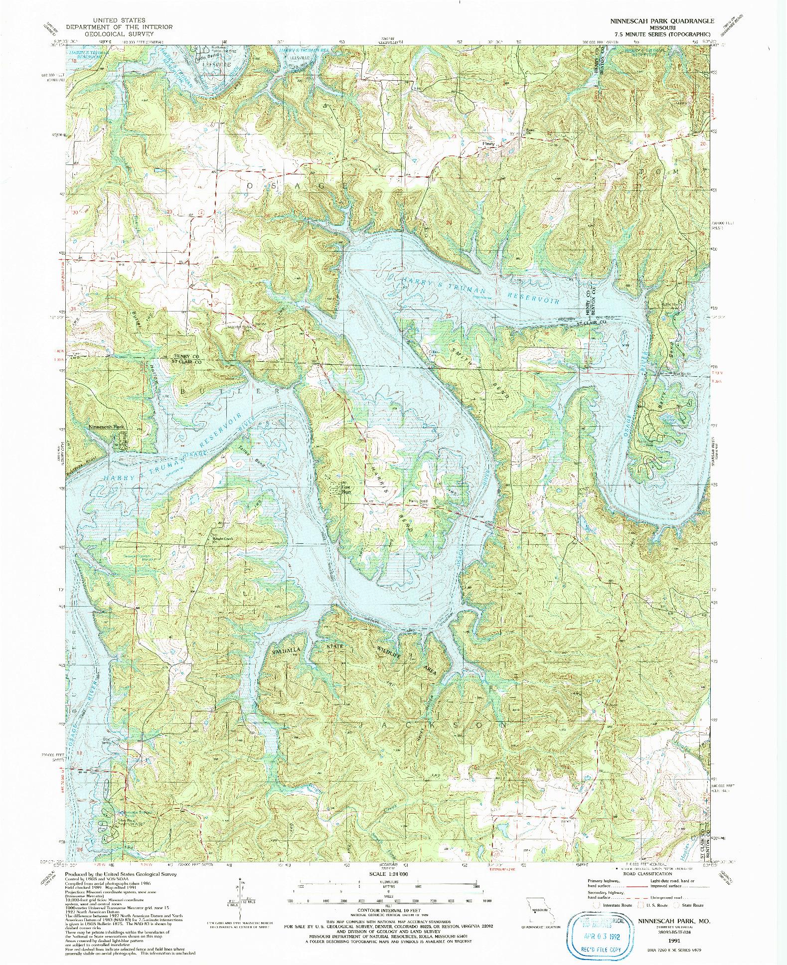 USGS 1:24000-SCALE QUADRANGLE FOR NINNESCAH PARK, MO 1991