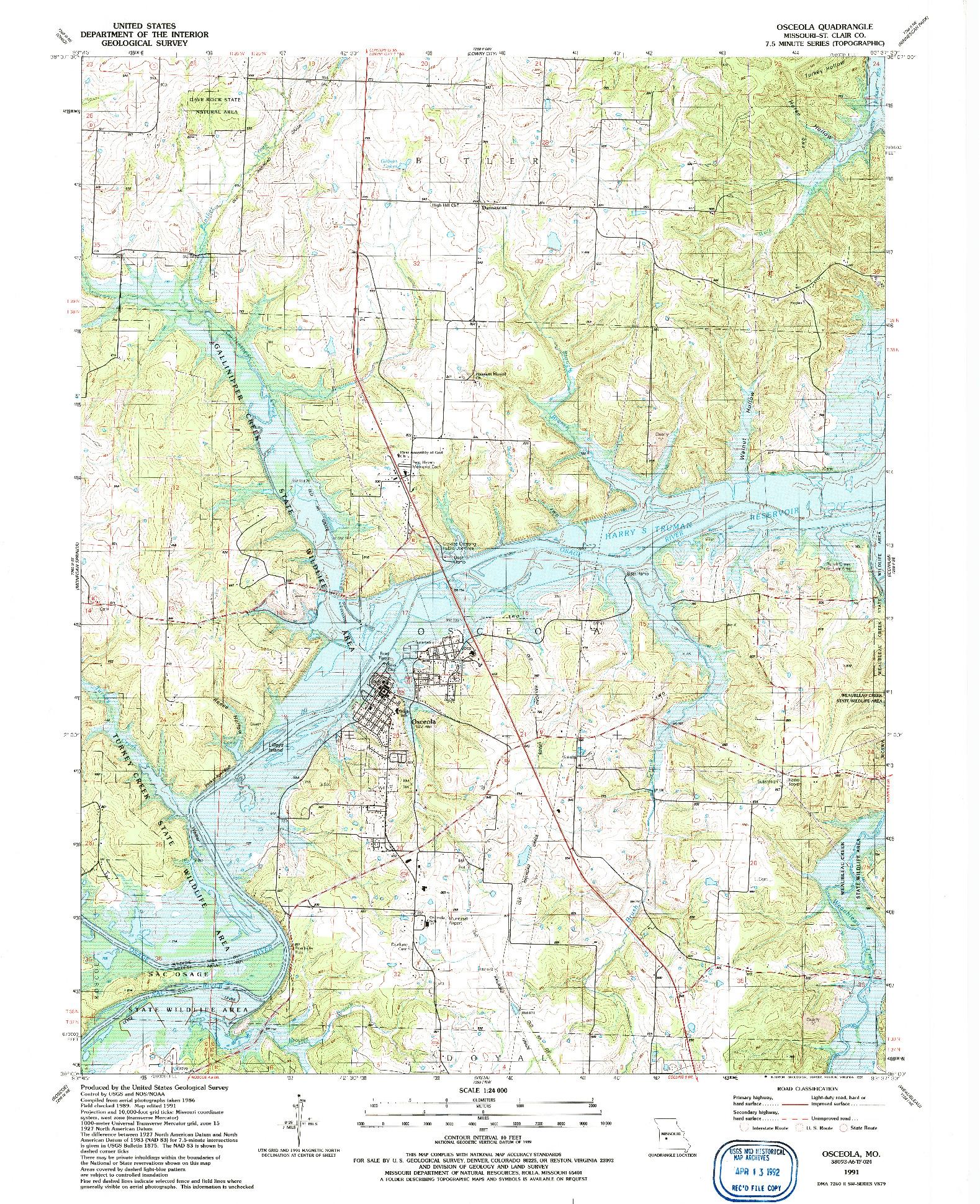 USGS 1:24000-SCALE QUADRANGLE FOR OSCEOLA, MO 1991