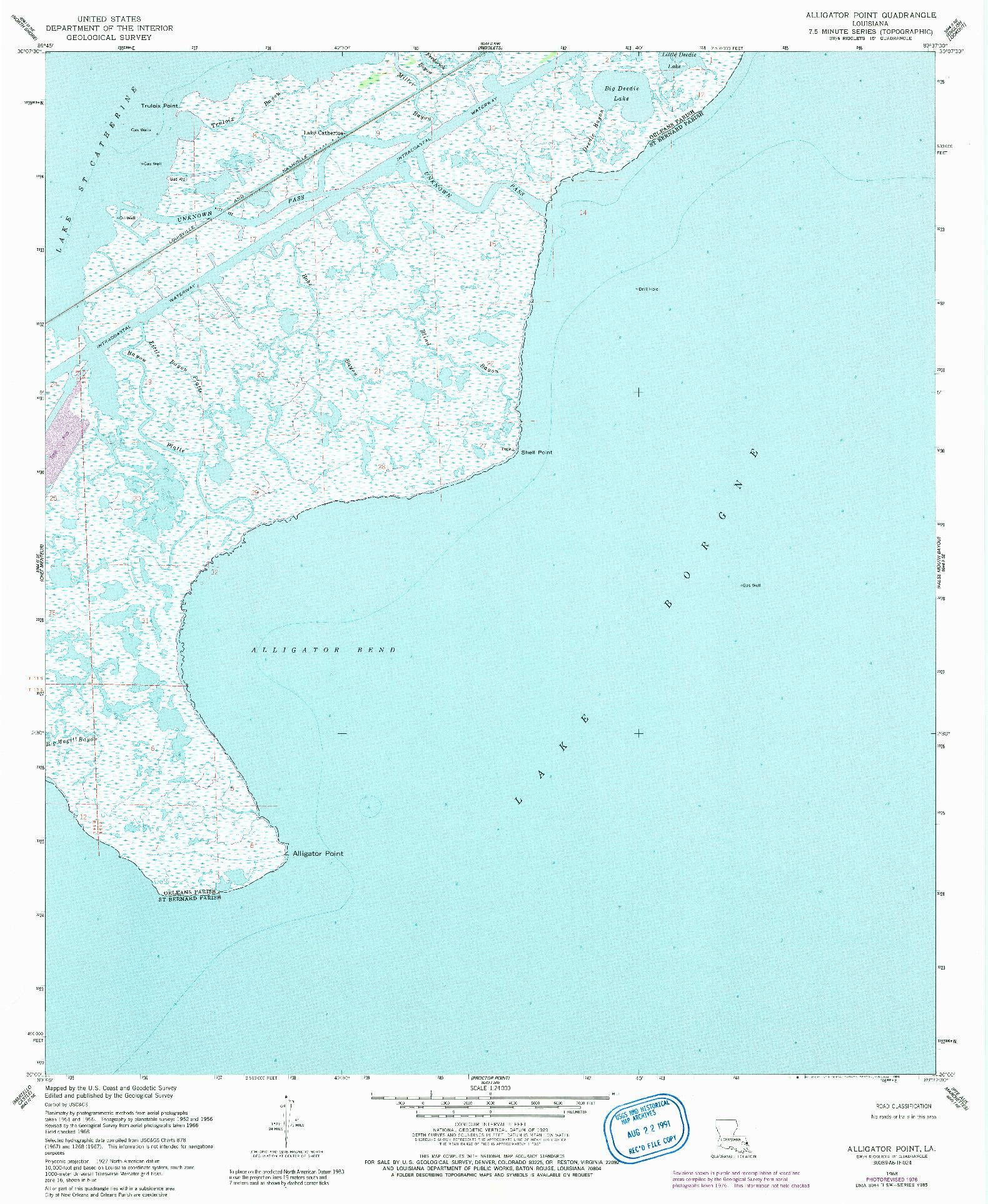 USGS 1:24000-SCALE QUADRANGLE FOR ALLIGATOR POINT, LA 1968