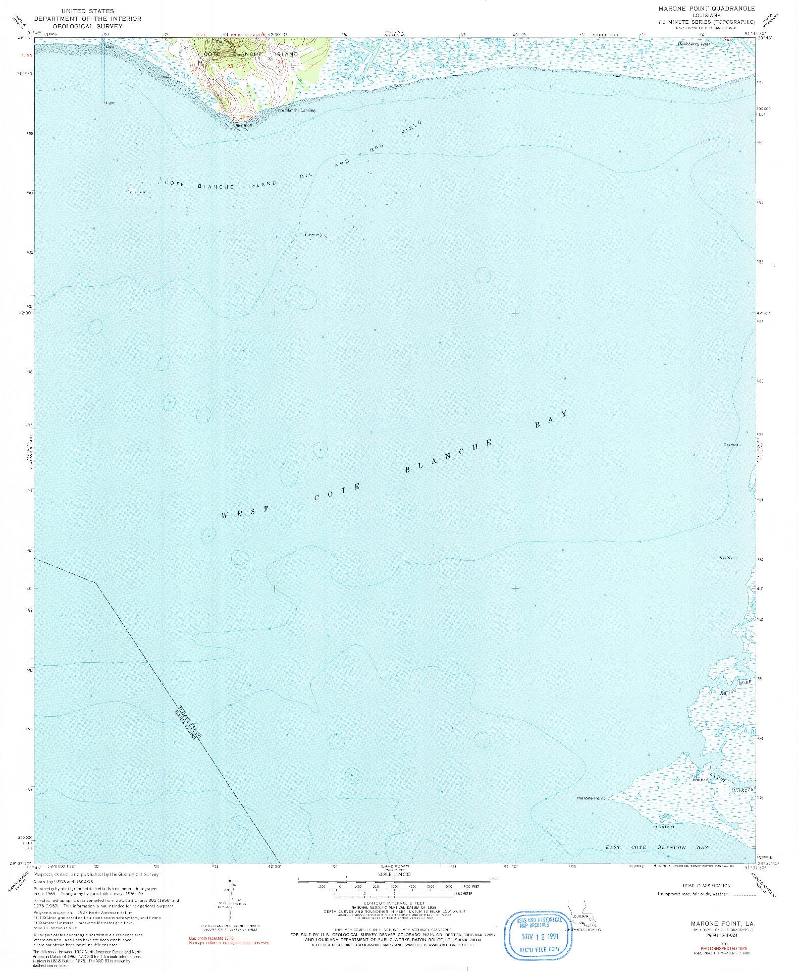 USGS 1:24000-SCALE QUADRANGLE FOR MARONE POINT, LA 1970