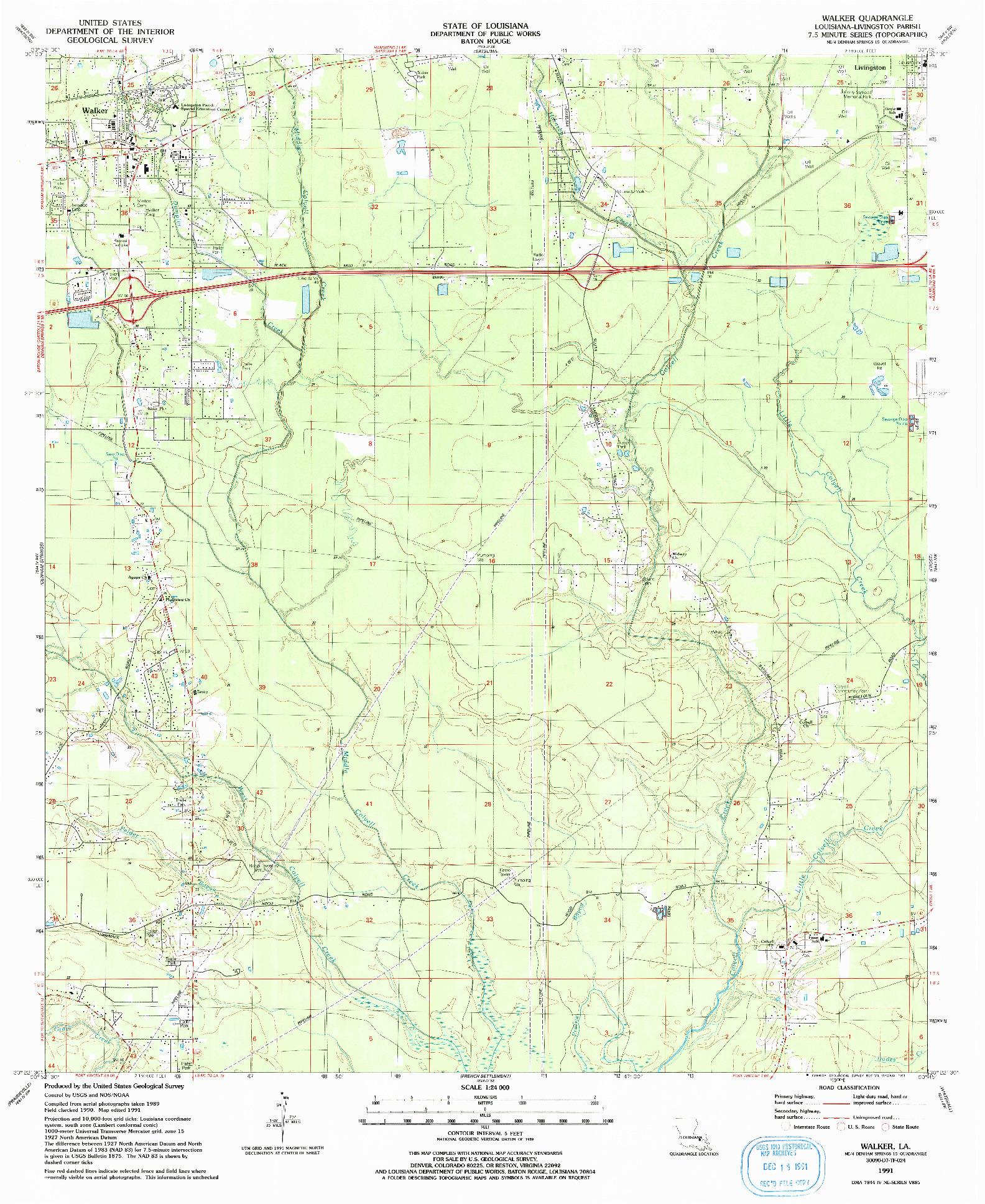 USGS 1:24000-SCALE QUADRANGLE FOR WALKER, LA 1991