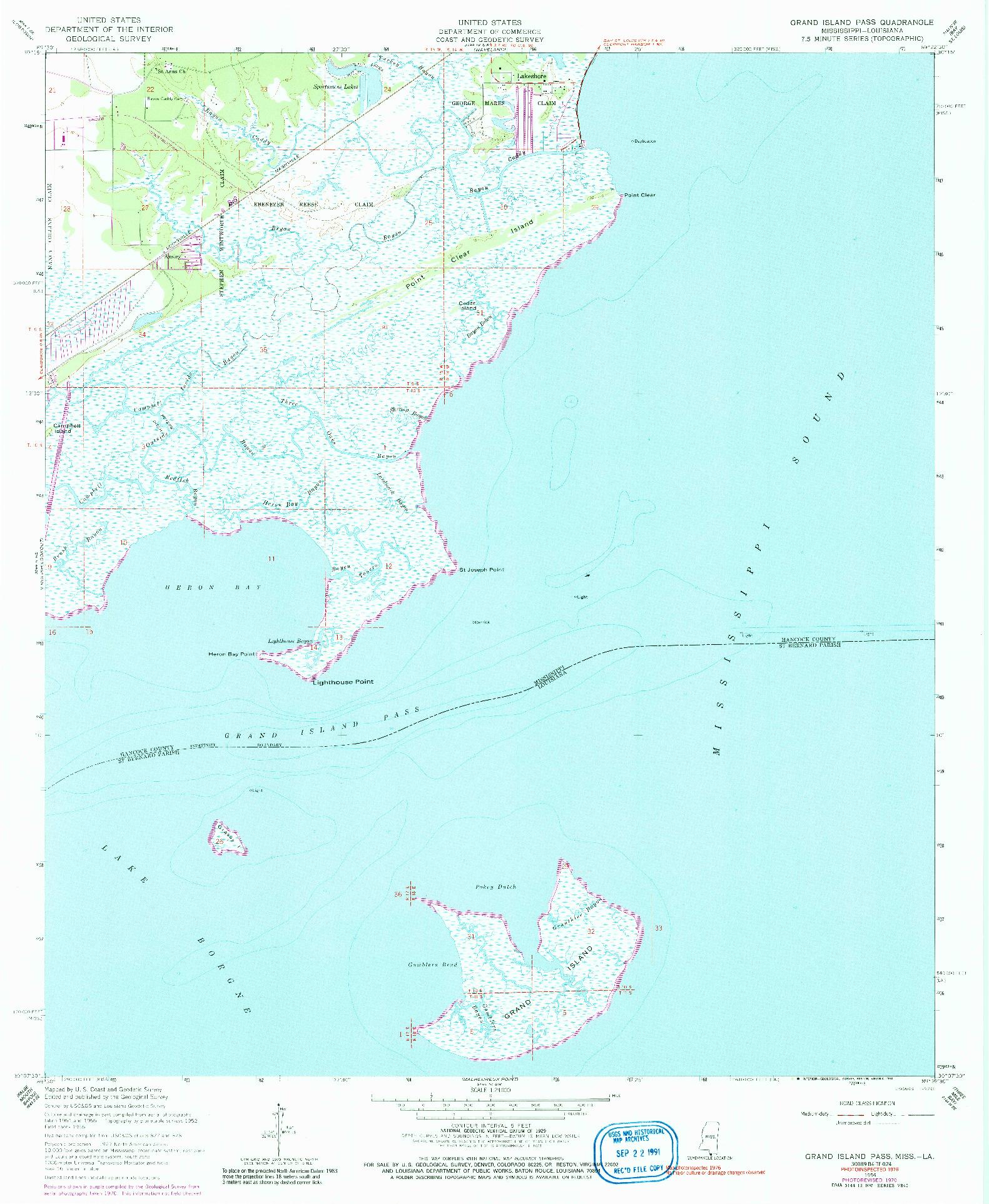 USGS 1:24000-SCALE QUADRANGLE FOR GRAND ISLAND PASS, MS 1956