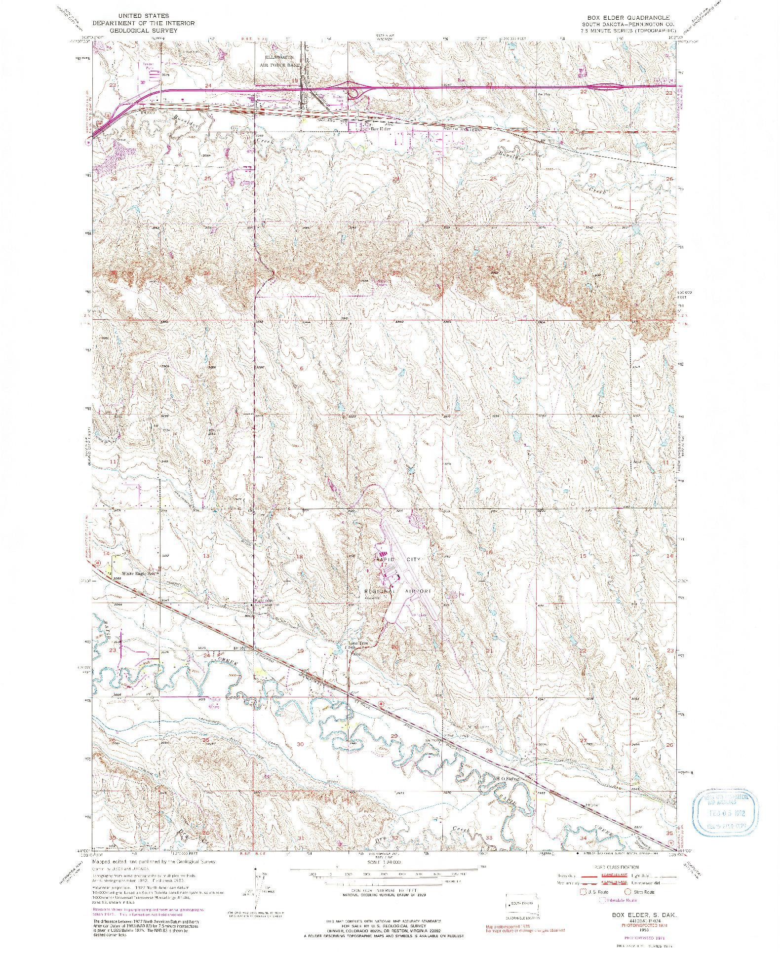 USGS 1:24000-SCALE QUADRANGLE FOR BOX ELDER, SD 1953