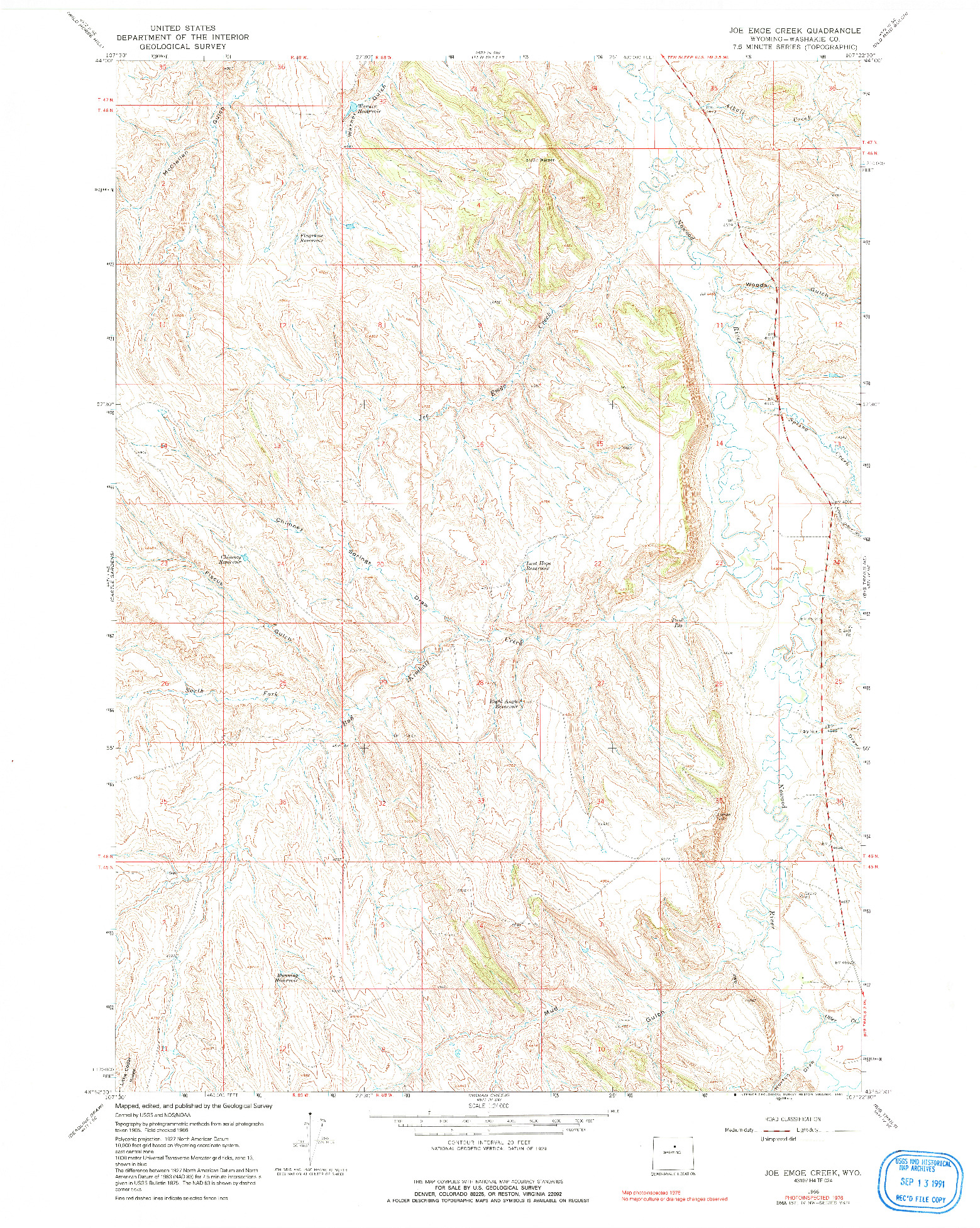 USGS 1:24000-SCALE QUADRANGLE FOR JOE EMGE CREEK, WY 1966