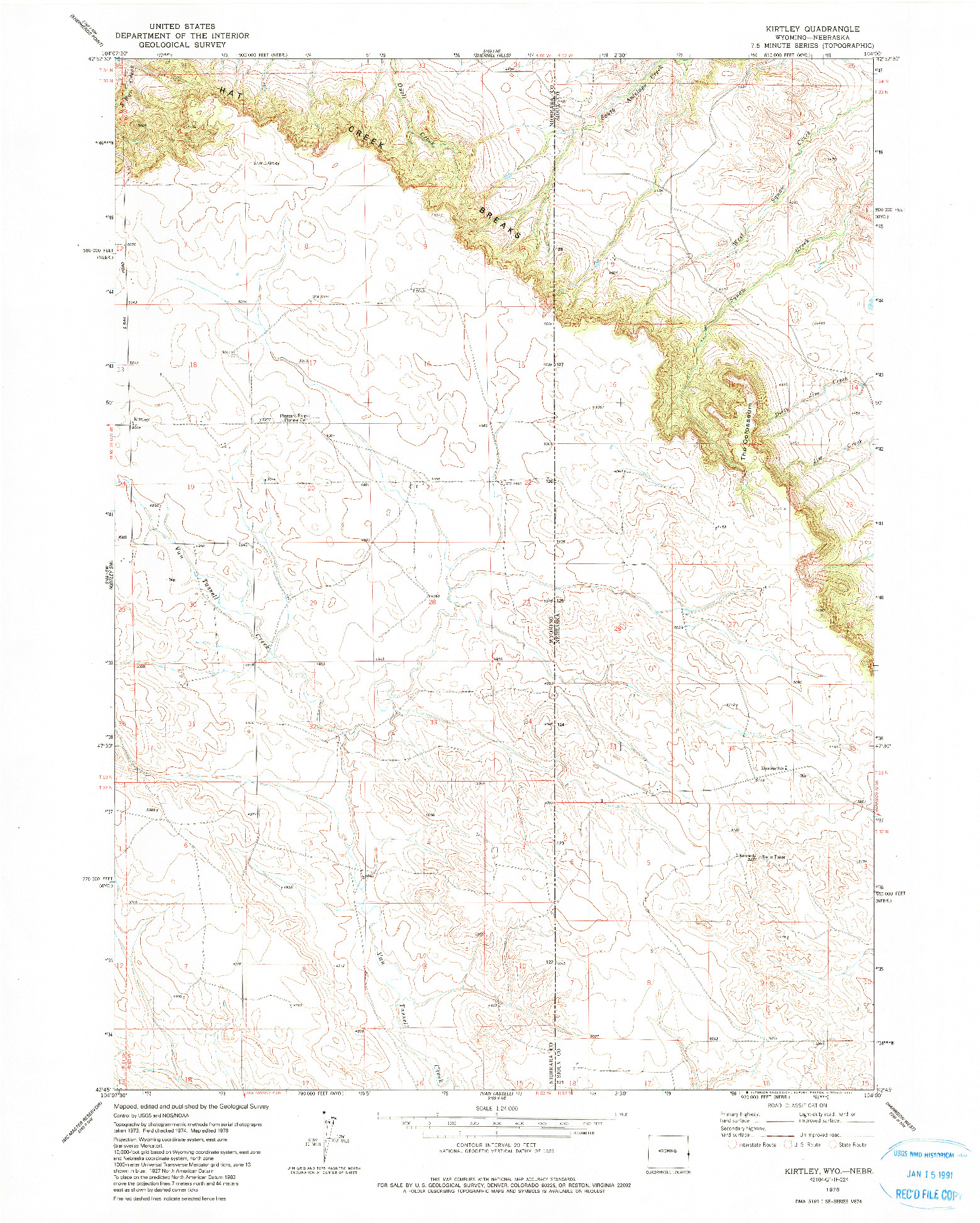 USGS 1:24000-SCALE QUADRANGLE FOR KIRTLEY, WY 1978