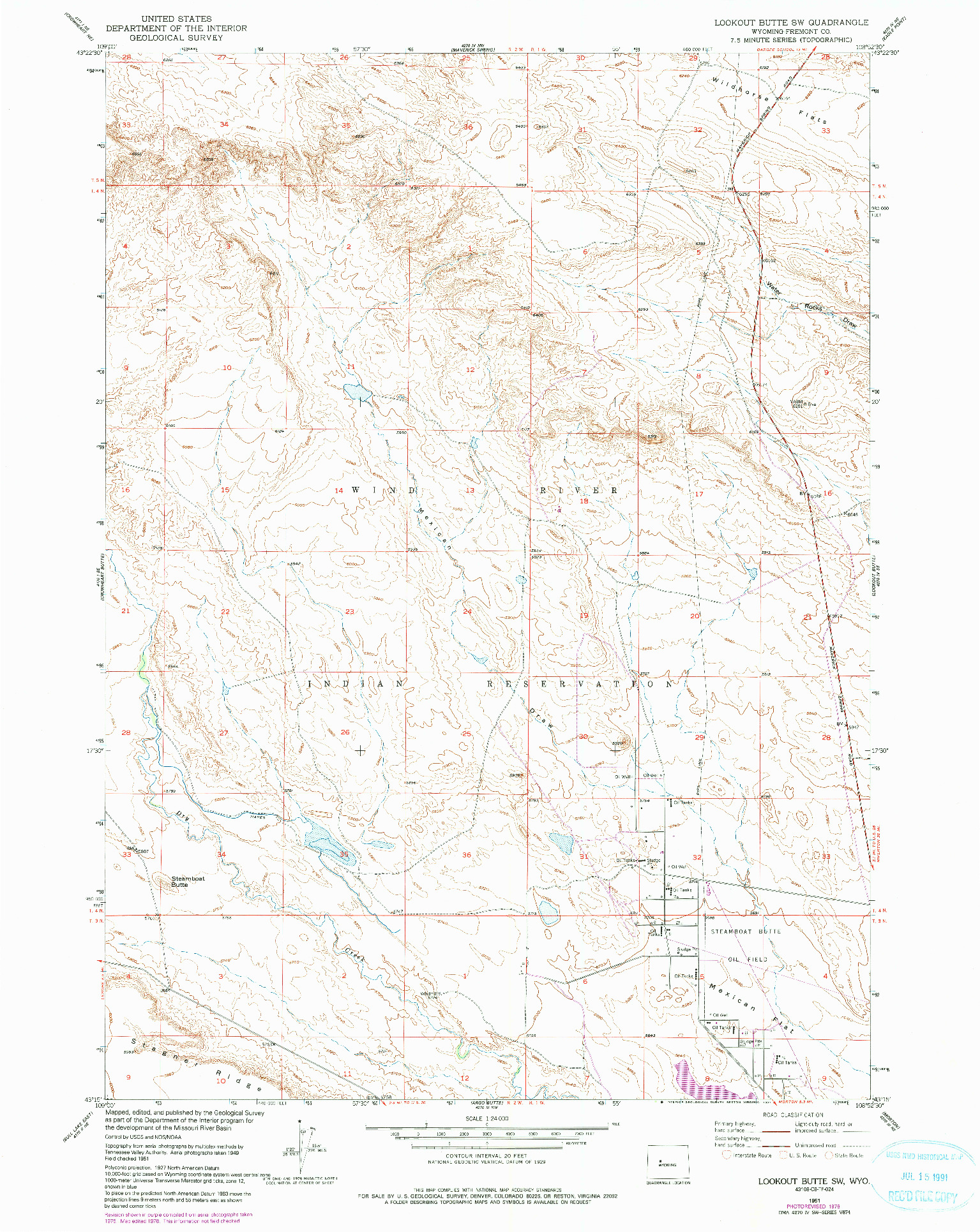 USGS 1:24000-SCALE QUADRANGLE FOR LOOKOUT BUTTE SW, WY 1951