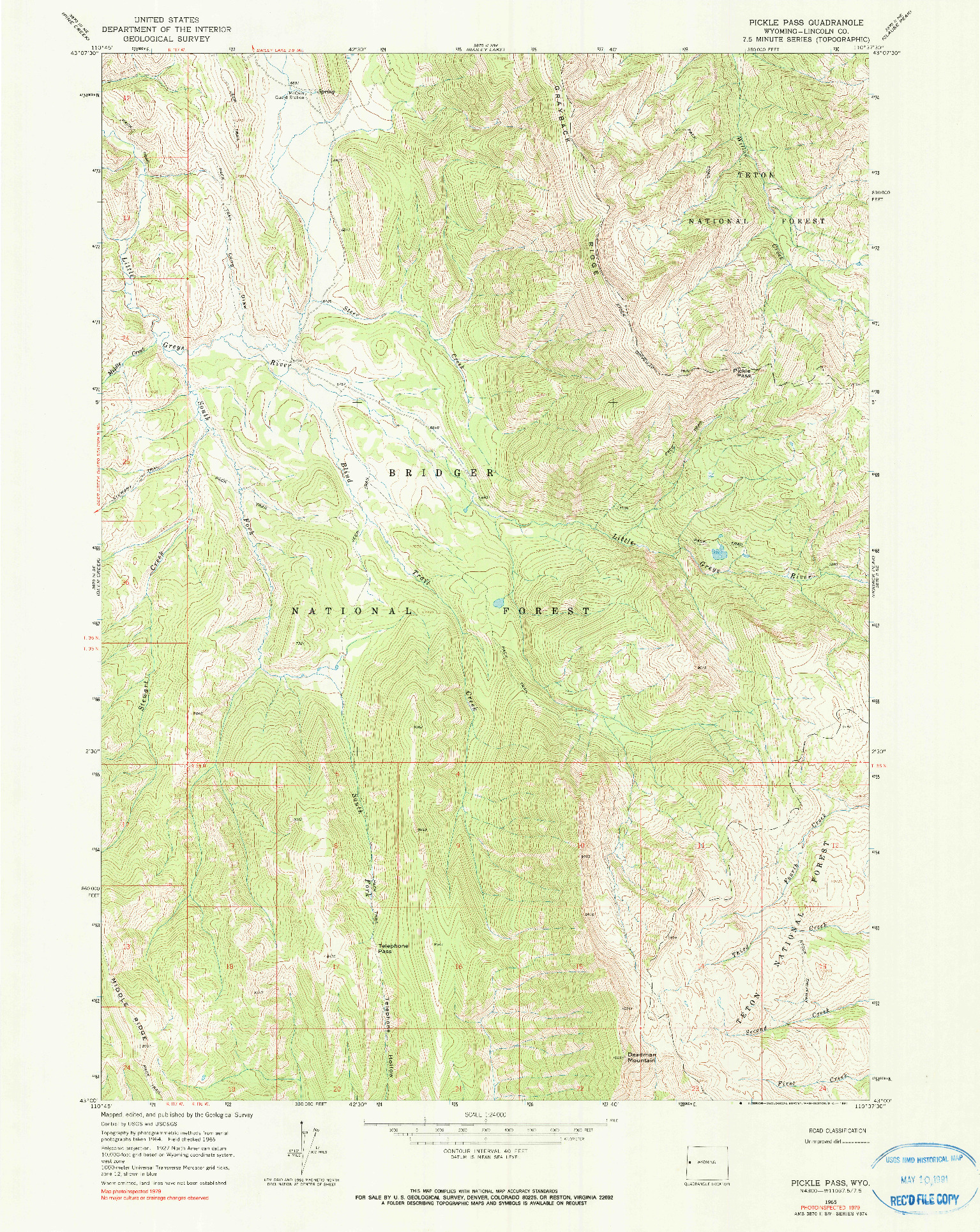 USGS 1:24000-SCALE QUADRANGLE FOR PICKLE PASS, WY 1965