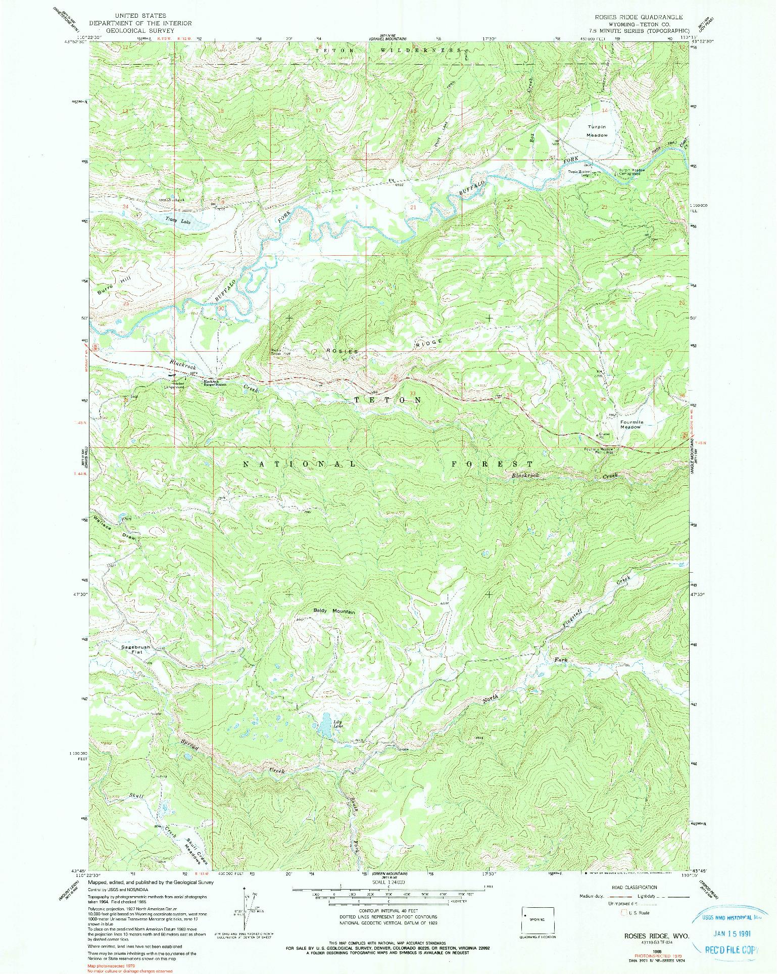USGS 1:24000-SCALE QUADRANGLE FOR ROSIES RIDGE, WY 1965