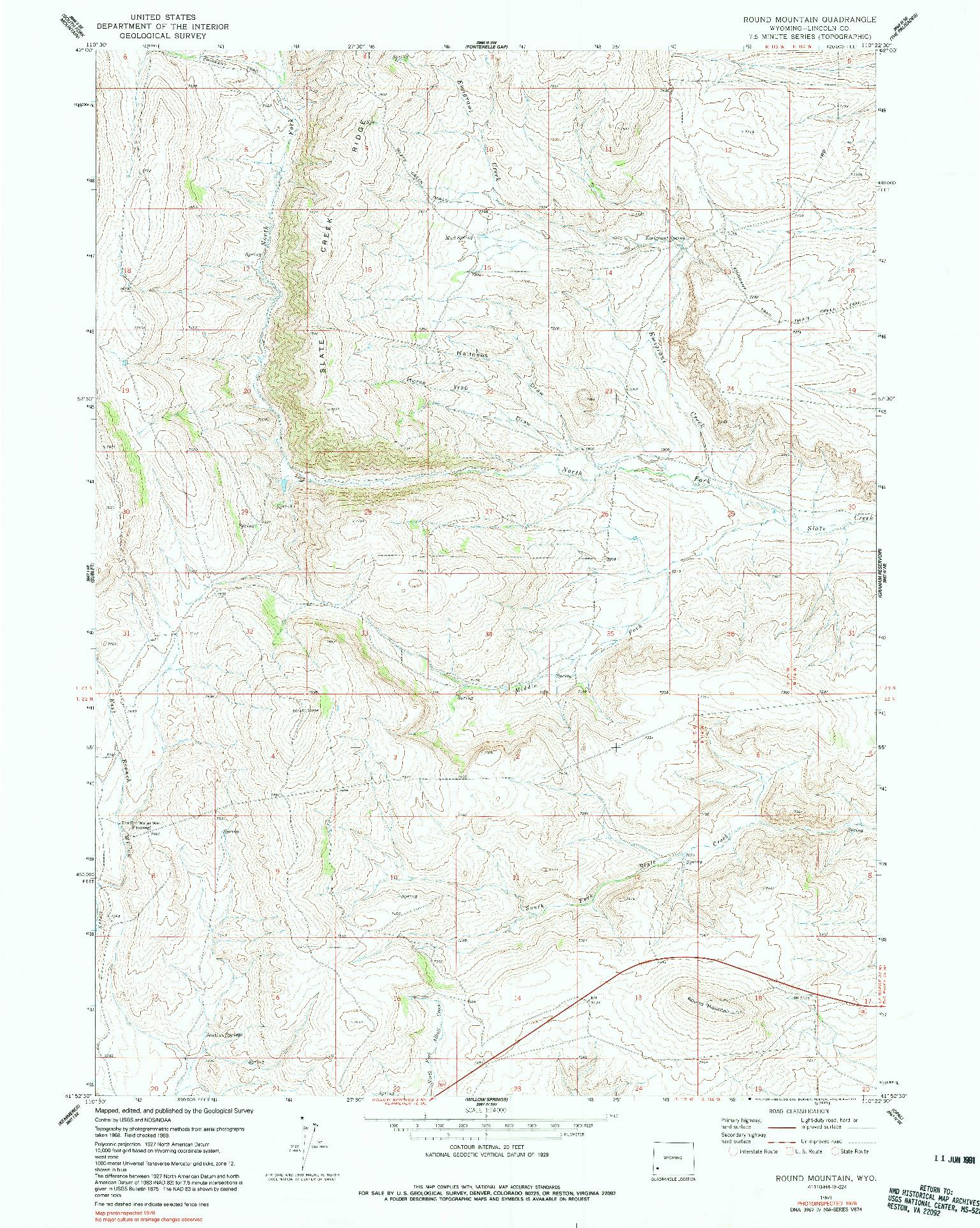 USGS 1:24000-SCALE QUADRANGLE FOR ROUND MOUNTAIN, WY 1969