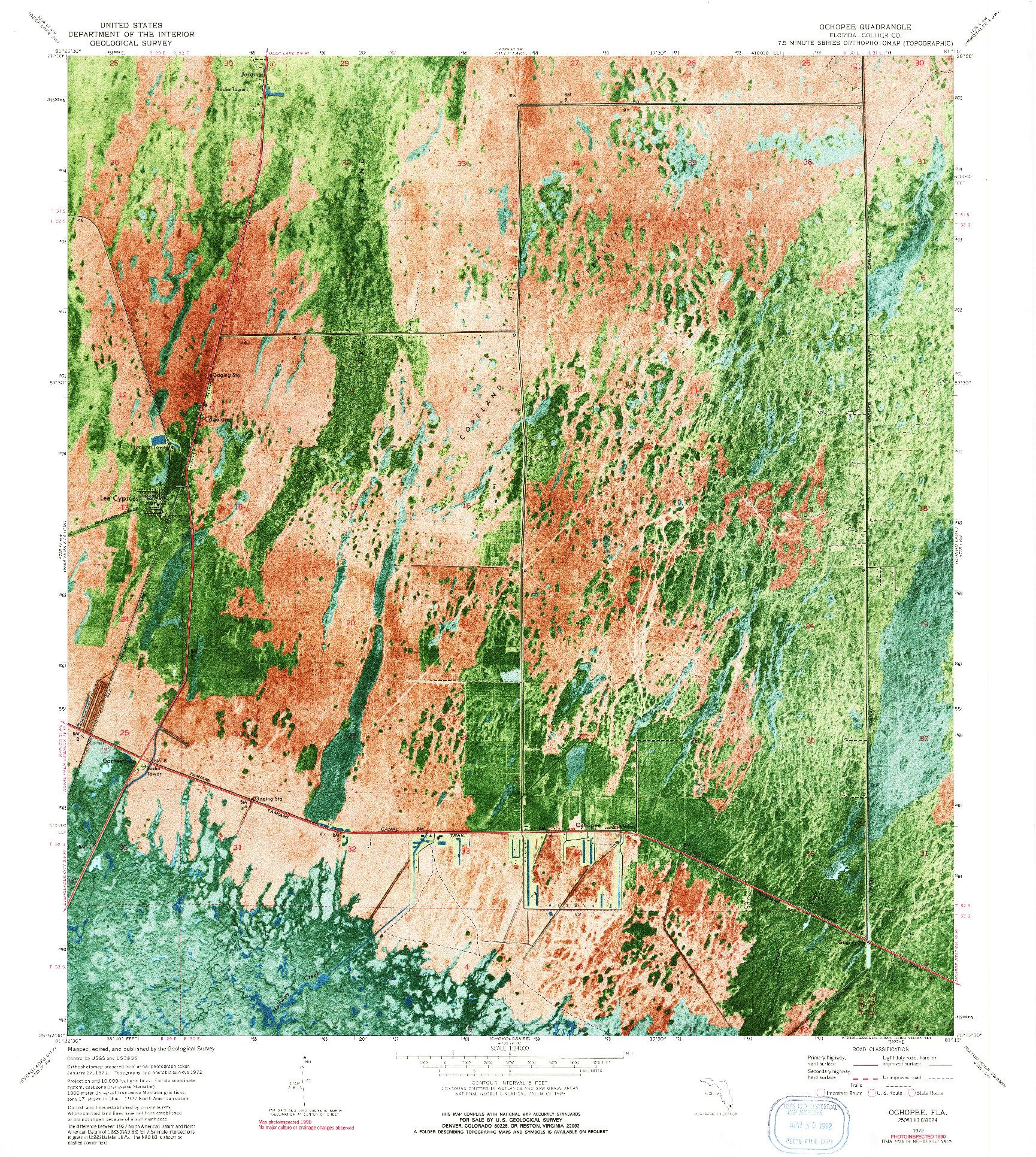 USGS 1:24000-SCALE QUADRANGLE FOR OCHOPEE, FL 1972