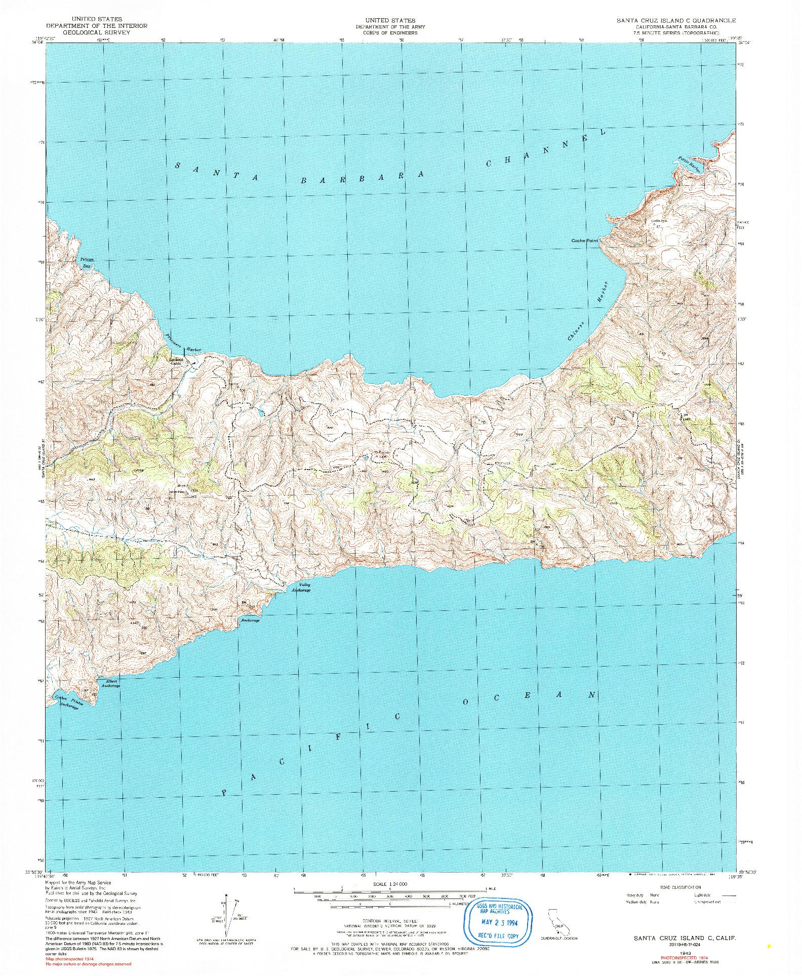 USGS 1:24000-SCALE QUADRANGLE FOR SANTA CRUZ ISLAND C, CA 1943