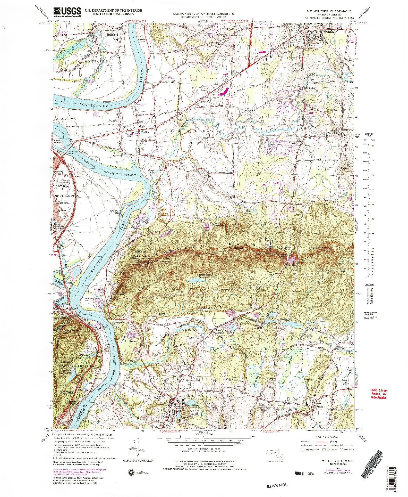 USGS 1:25000-SCALE QUADRANGLE FOR MT HOLYOKE, MA 1964