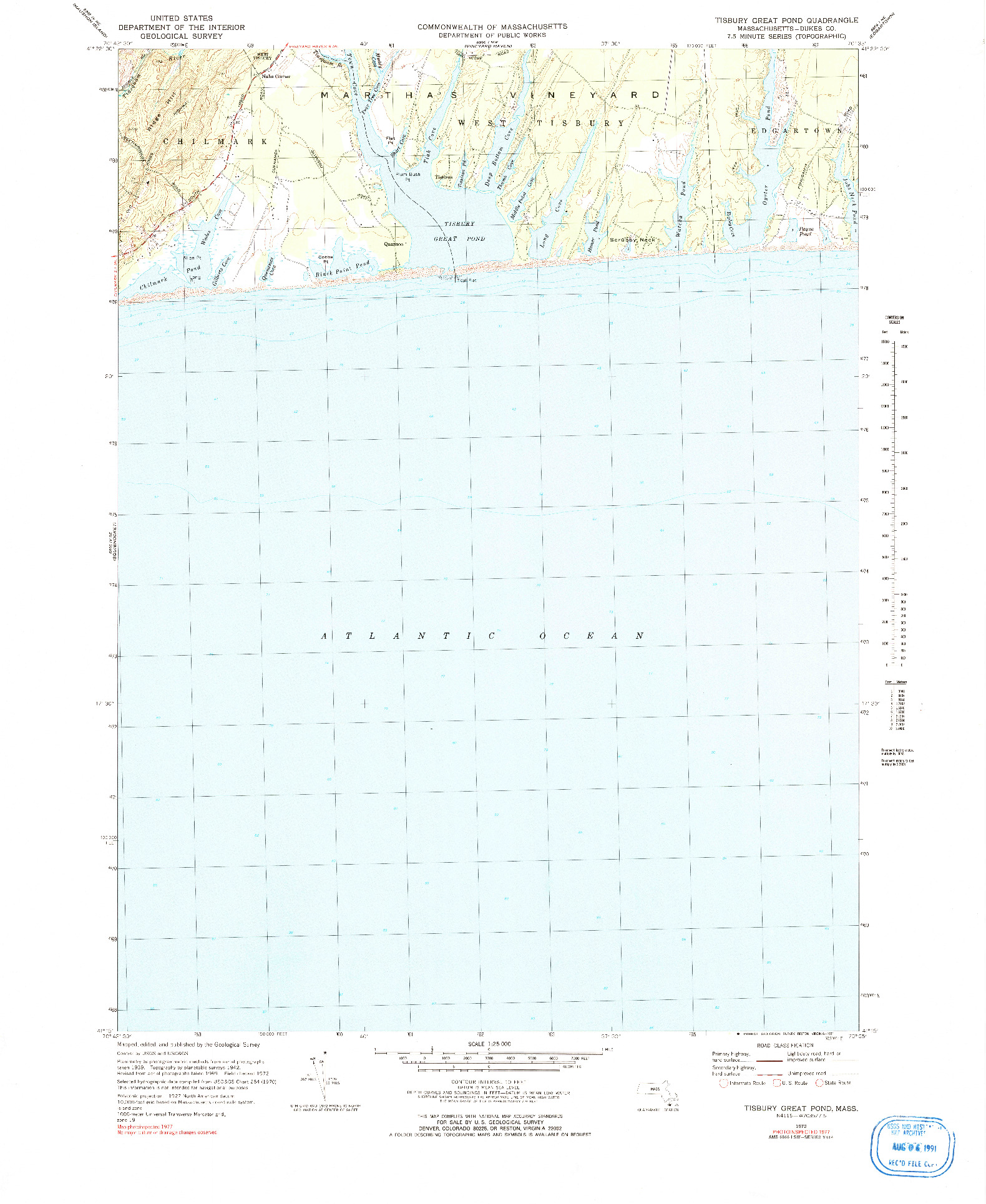 USGS 1:25000-SCALE QUADRANGLE FOR TISBURY GREAT POND, MA 1972