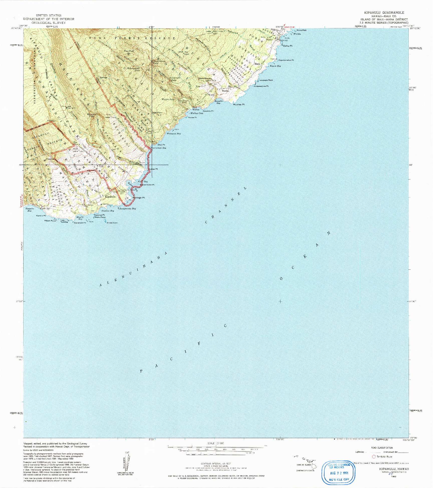 USGS 1:24000-SCALE QUADRANGLE FOR KIPAHULU, HI 1983