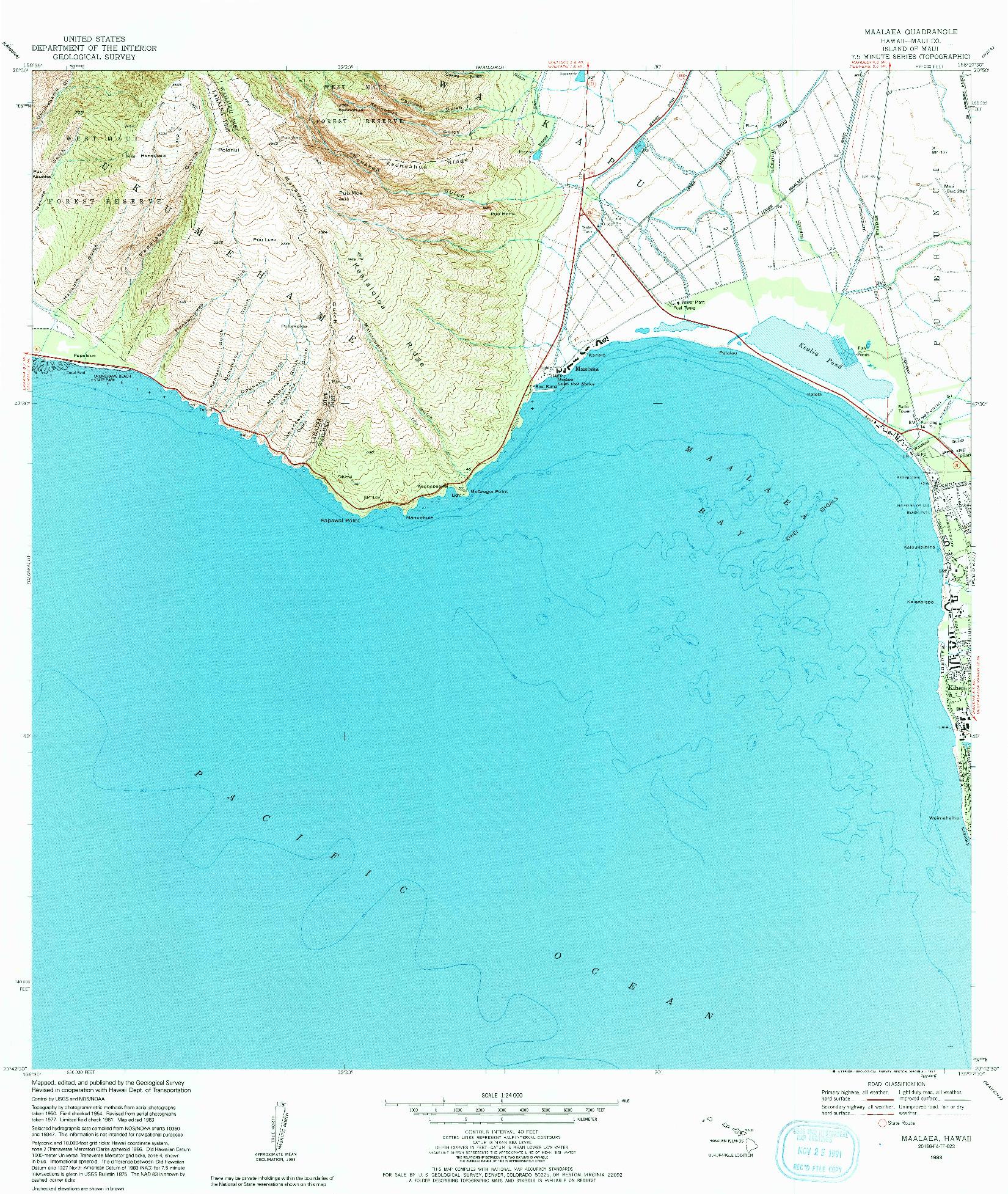 USGS 1:24000-SCALE QUADRANGLE FOR MAALAEA, HI 1983