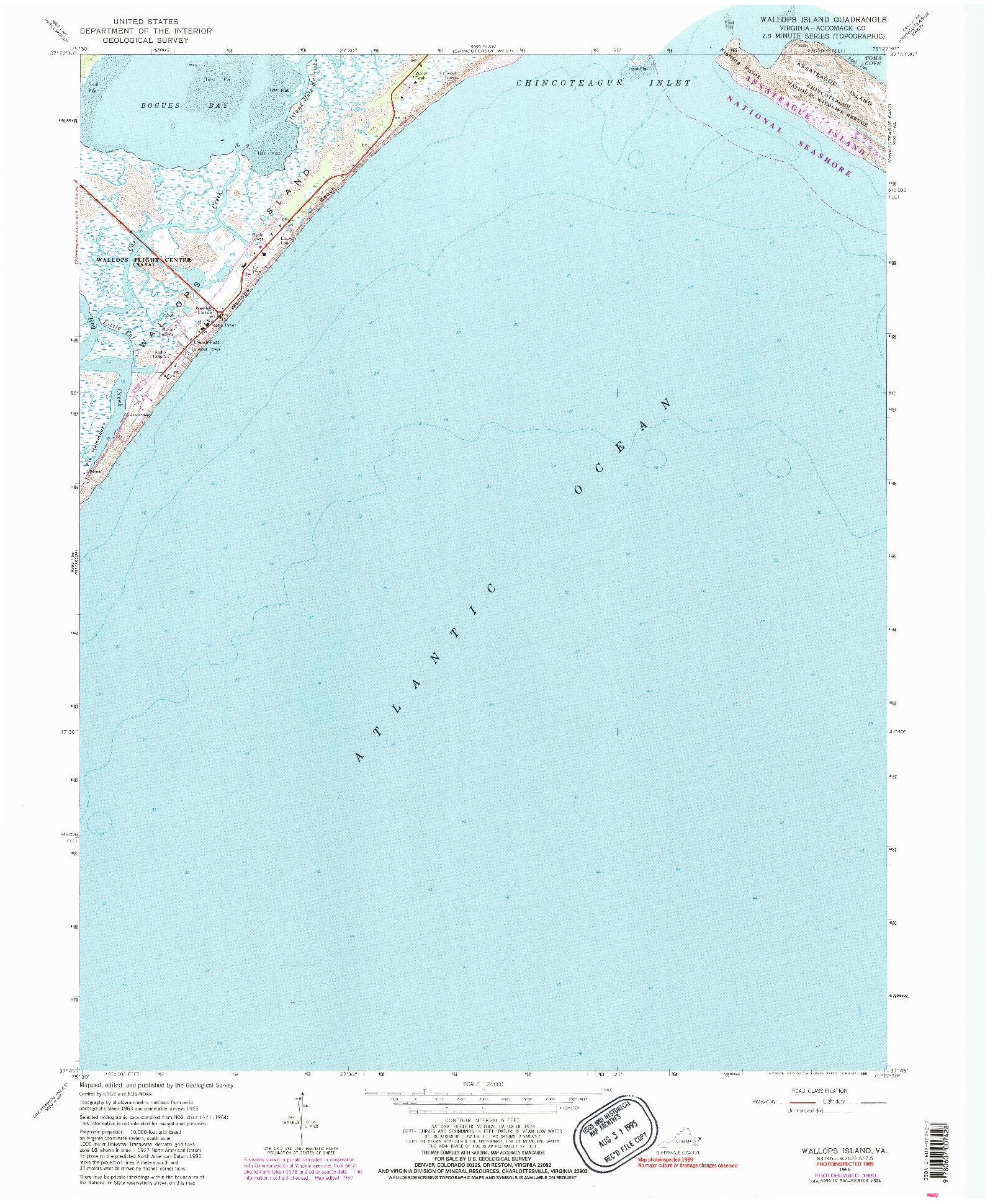 USGS 1:24000-SCALE QUADRANGLE FOR WALLOPS ISLAND, VA 1965