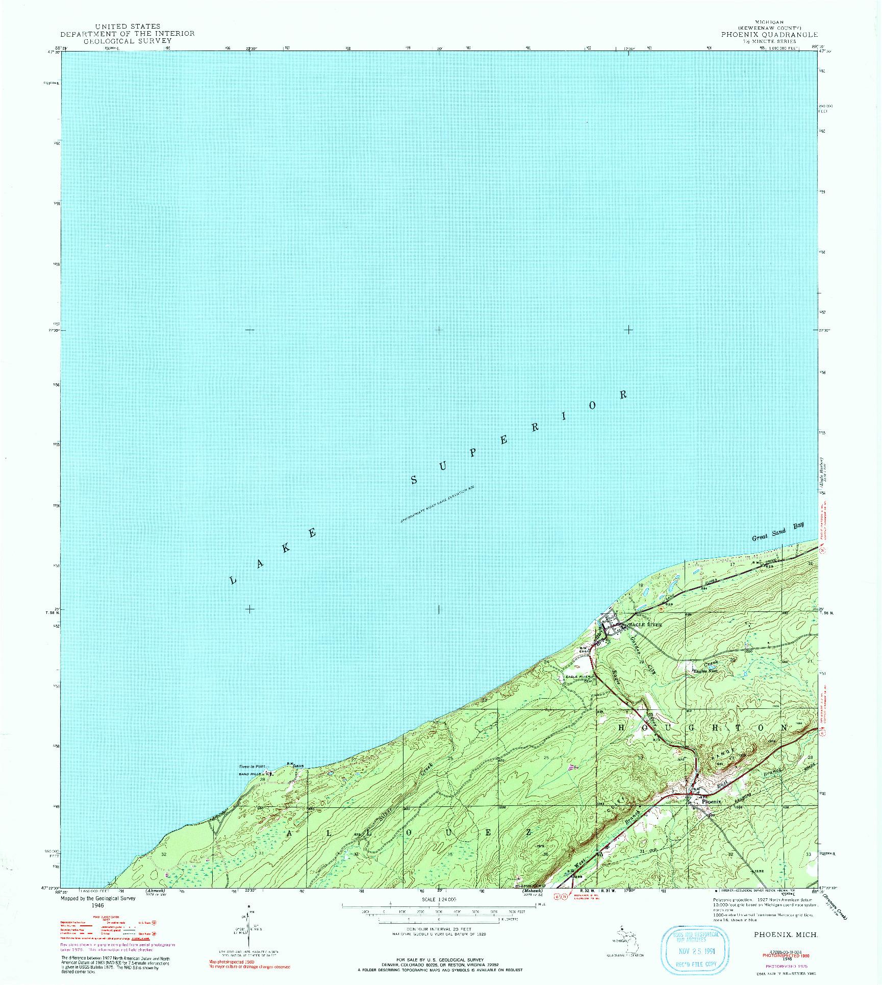 USGS 1:24000-SCALE QUADRANGLE FOR PHOENIX, MI 1946