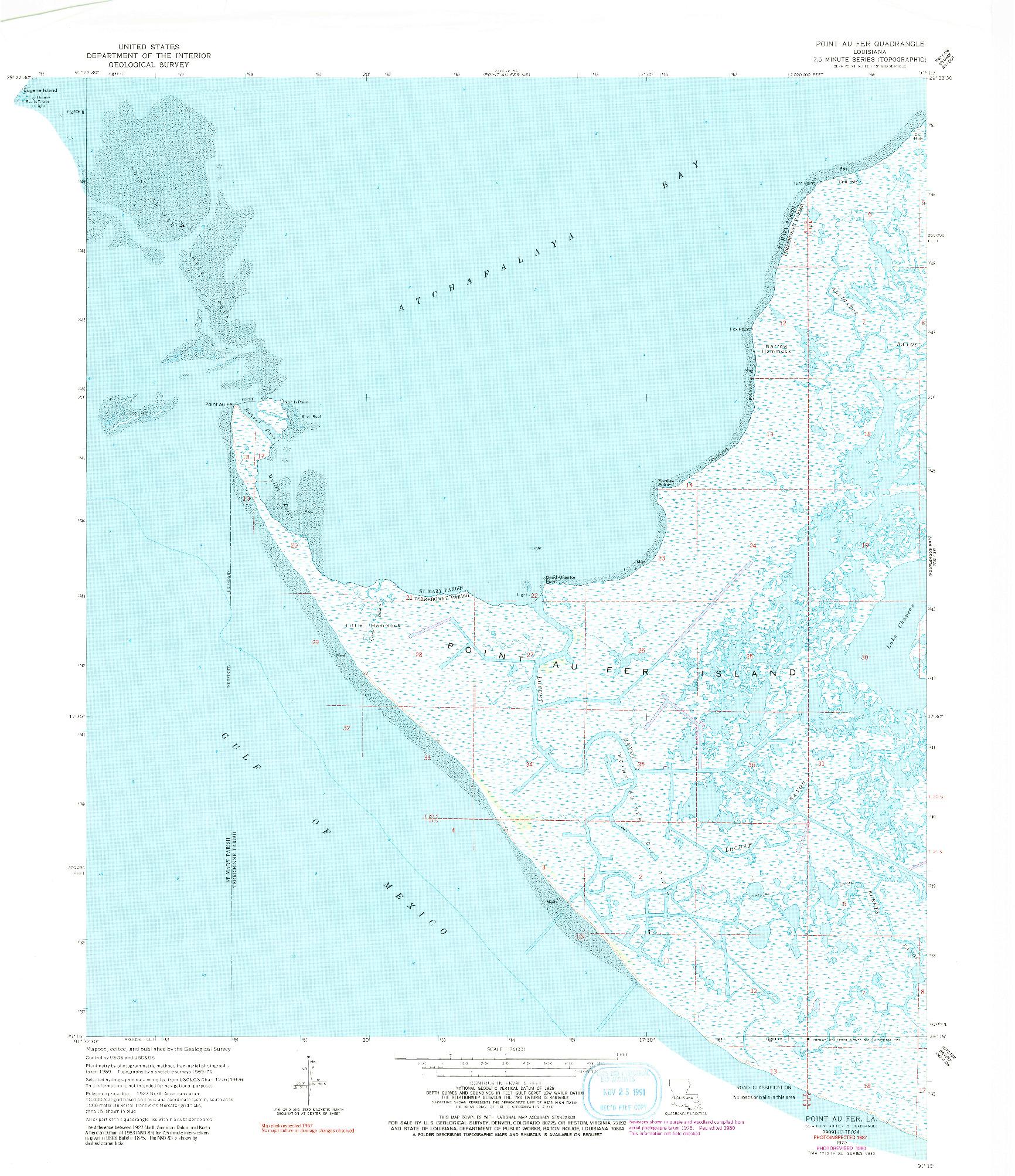 USGS 1:24000-SCALE QUADRANGLE FOR POINT AU FER, LA 1970
