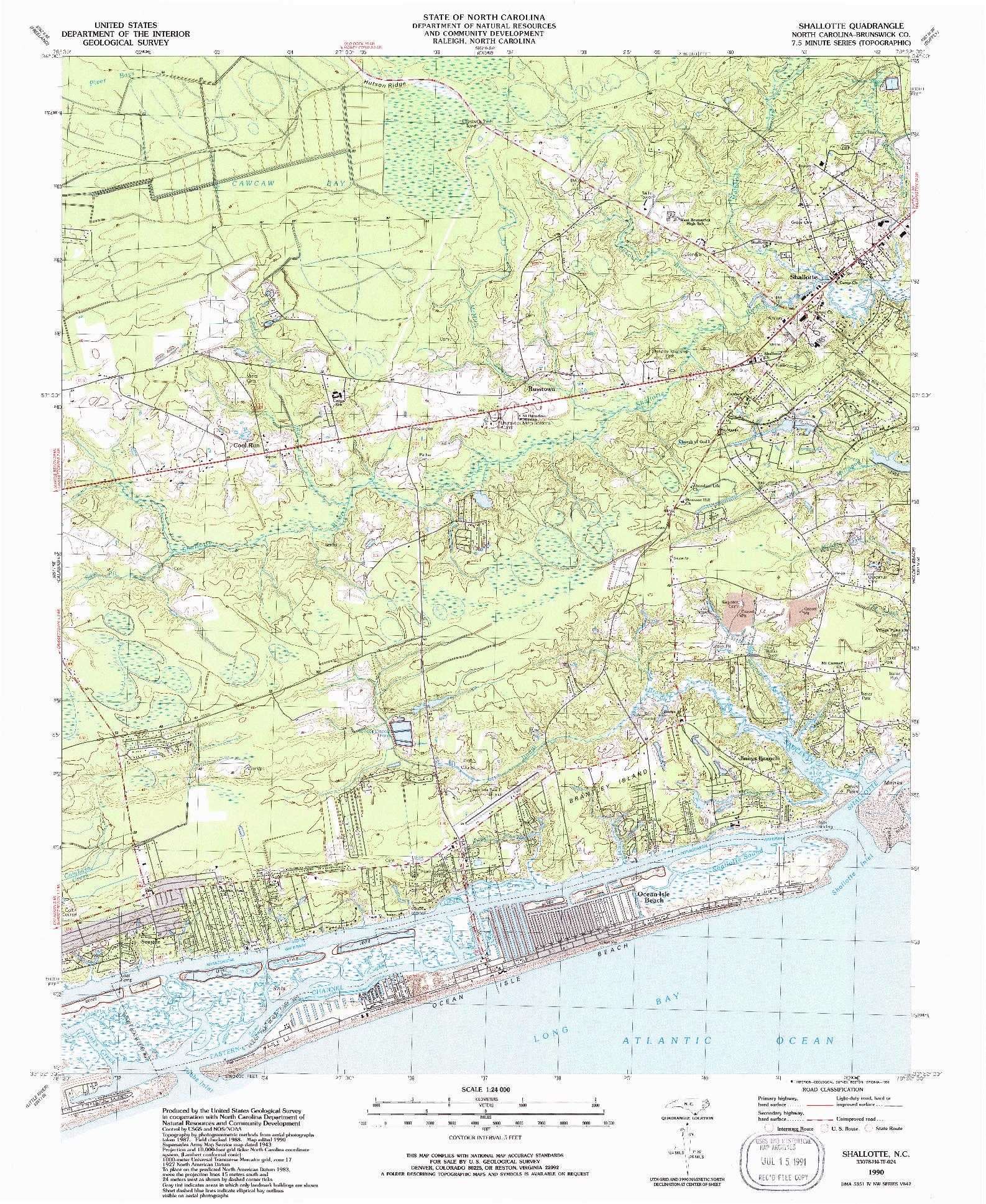 USGS 1:24000-SCALE QUADRANGLE FOR SHALLOTTE, NC 1990