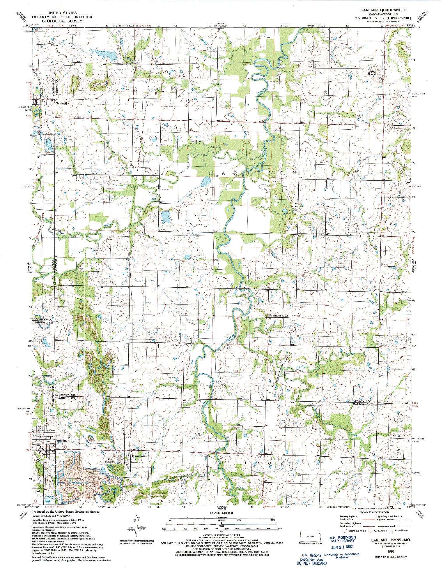 USGS 1:24000-SCALE QUADRANGLE FOR GARLAND, KS 1991
