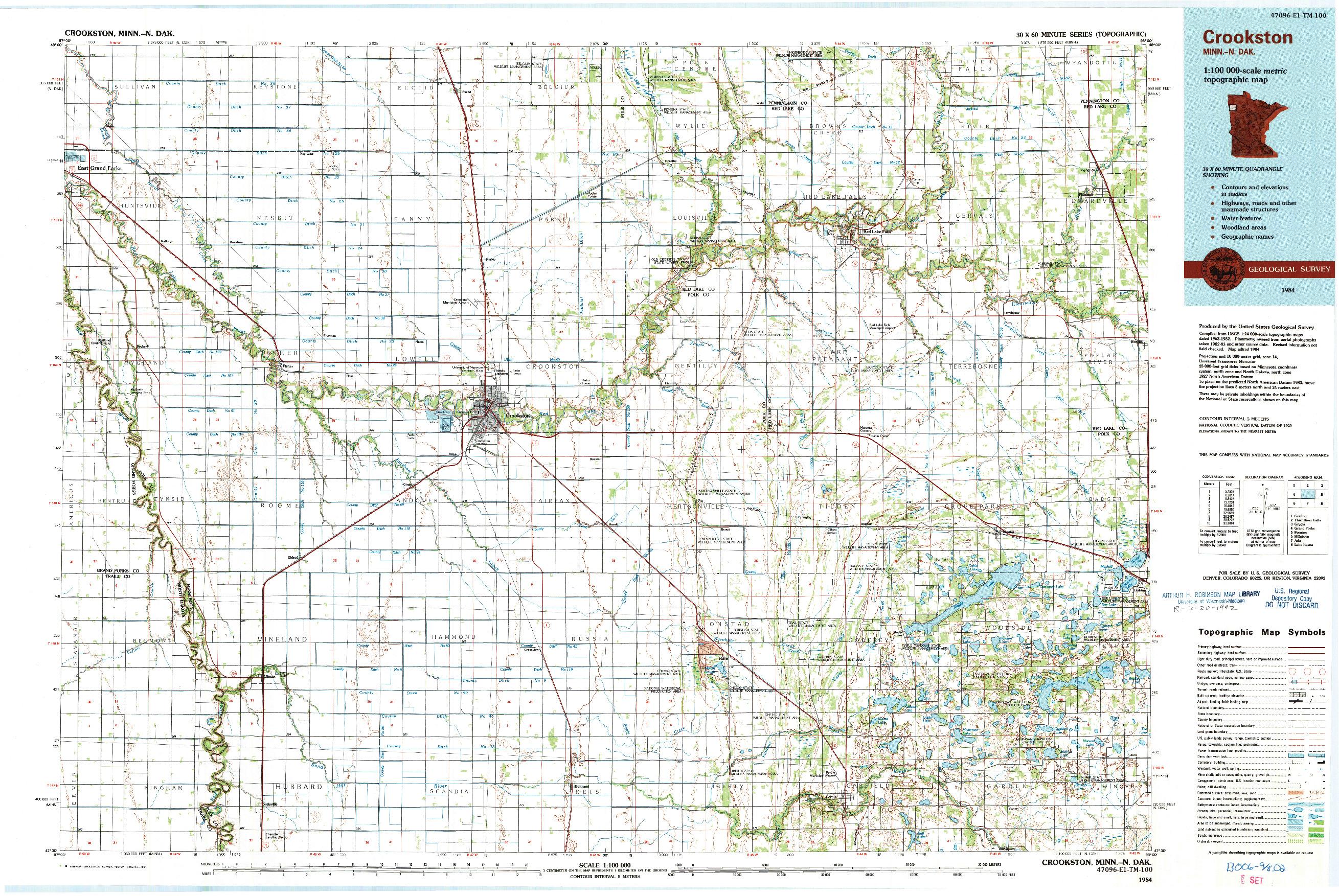 USGS 1:100000-SCALE QUADRANGLE FOR CROOKSTON, MN 1984