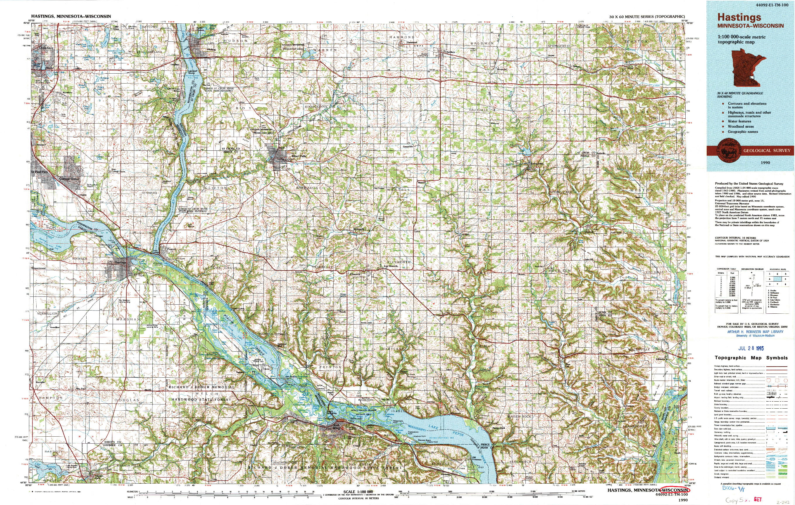 USGS 1:100000-SCALE QUADRANGLE FOR HASTINGS, MN 1990