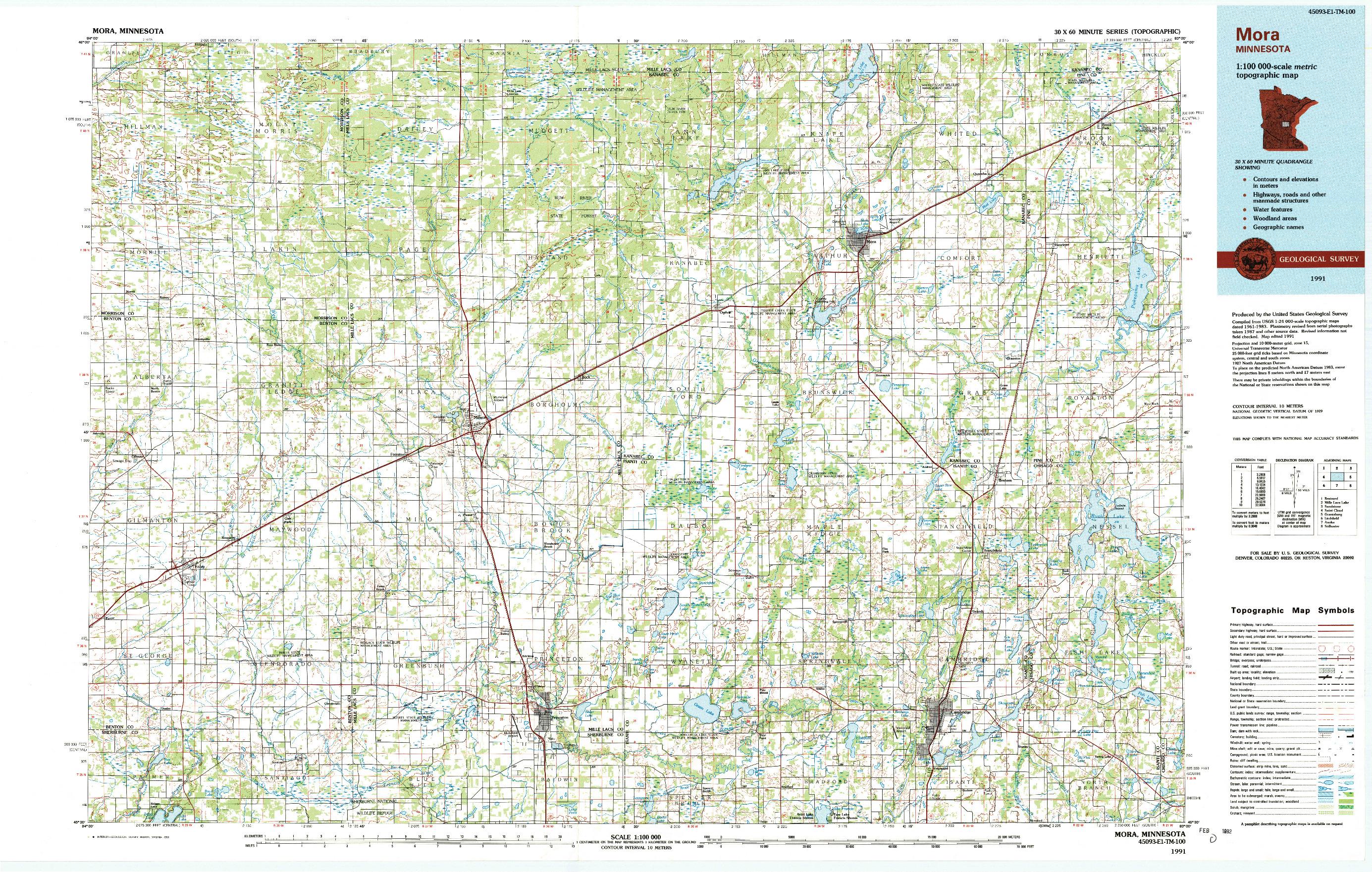 USGS 1:100000-SCALE QUADRANGLE FOR MORA, MN 1991