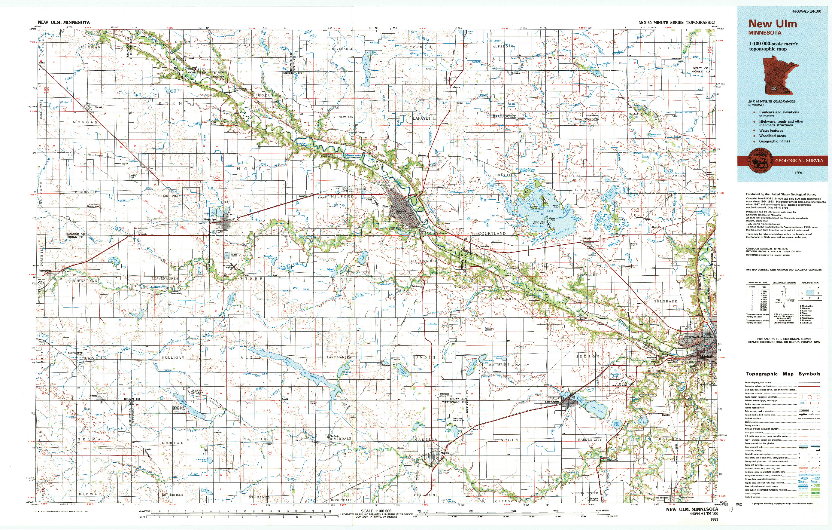 USGS 1:100000-SCALE QUADRANGLE FOR NEW ULM, MN 1991
